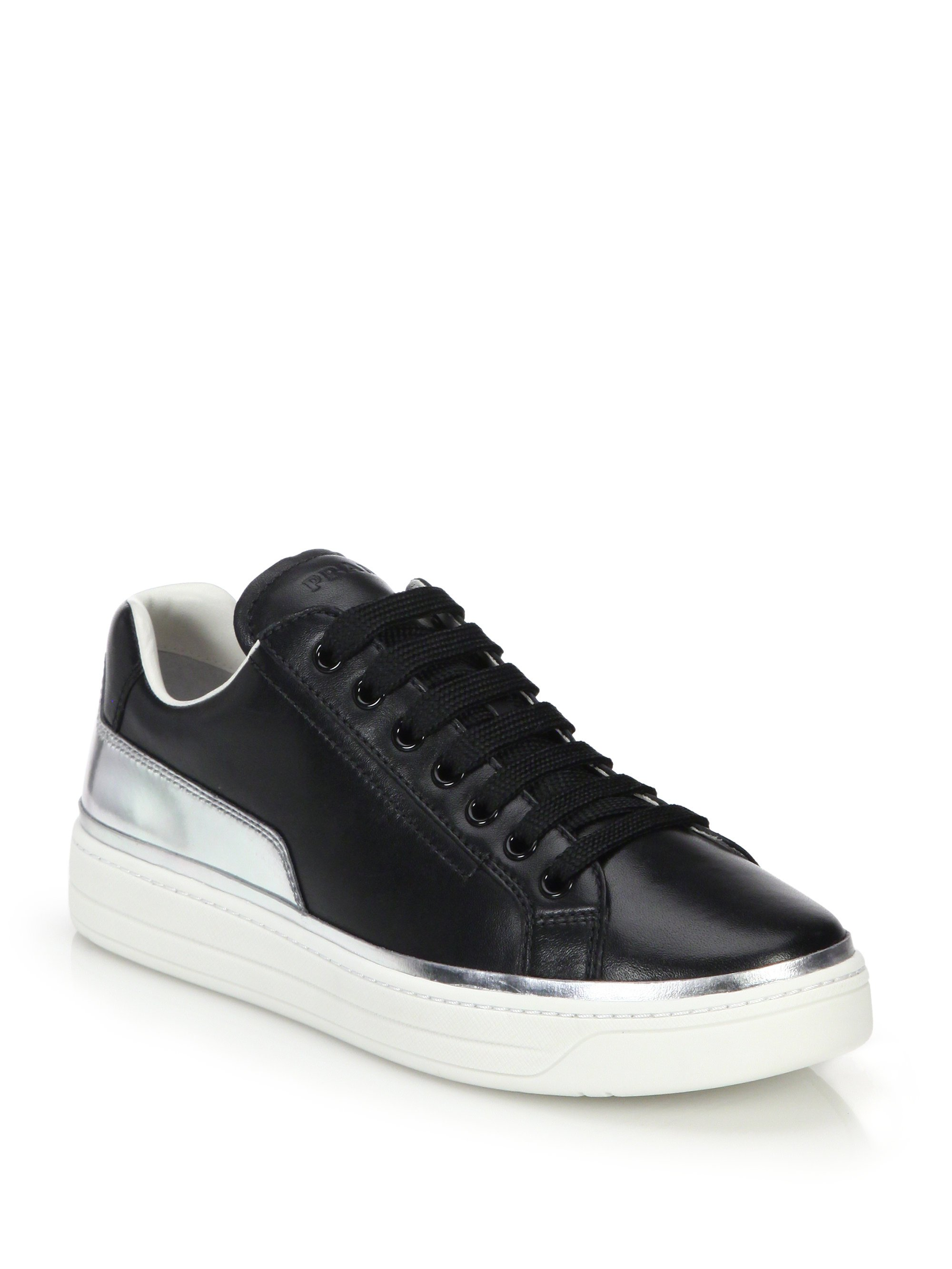 Lyst Prada Metallic Leather Trimmed Leather Sneakers In