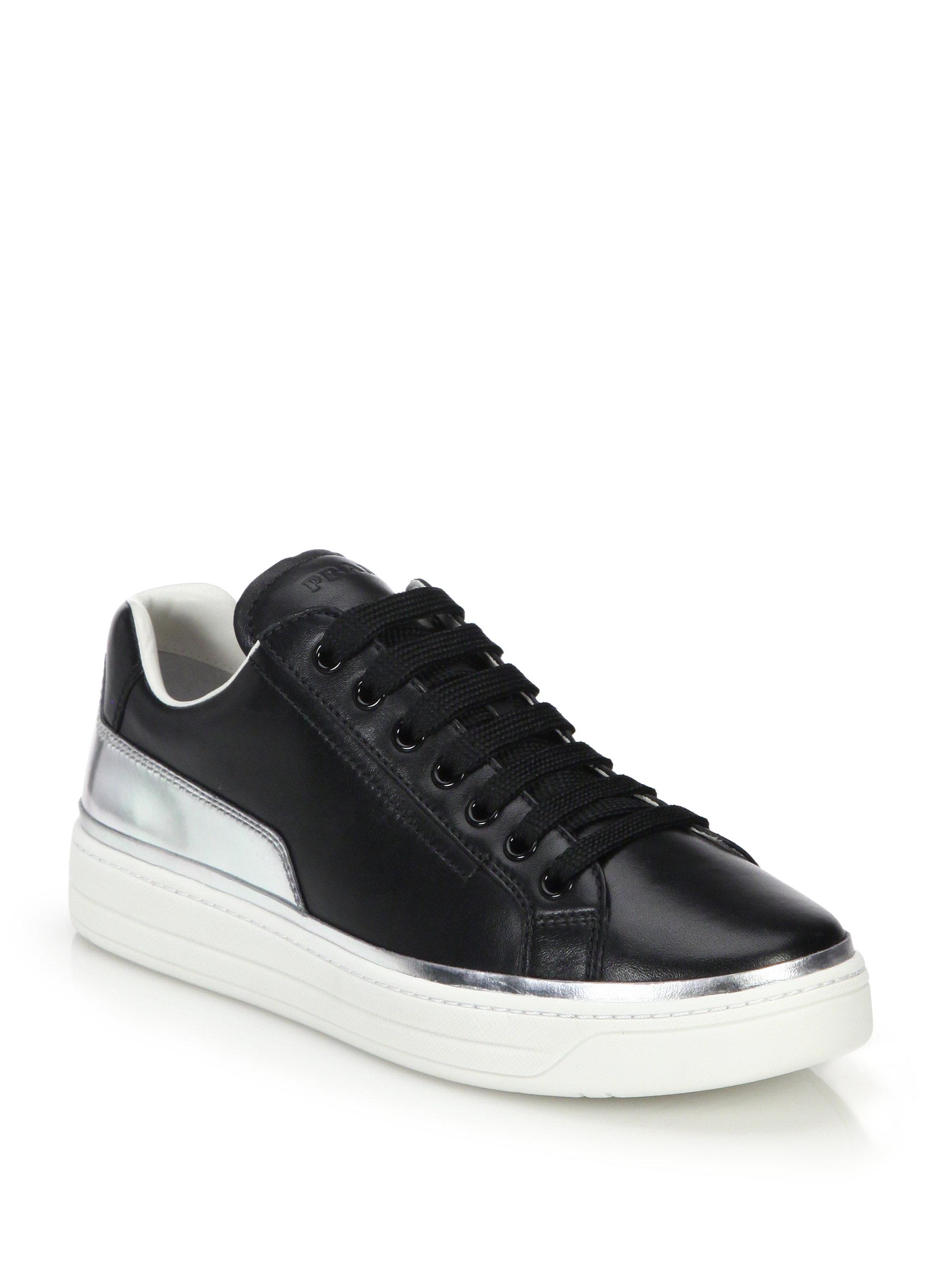 lyst prada metallic leathertrimmed leather sneakers in