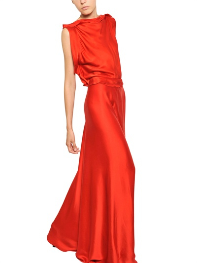 Lanvin Washed Silk Satin Asymmetrical Dress in Red | Lyst