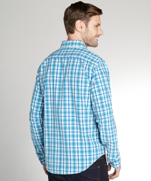 Relwen Aqua Blue And White Gingham Button Down Shirt In