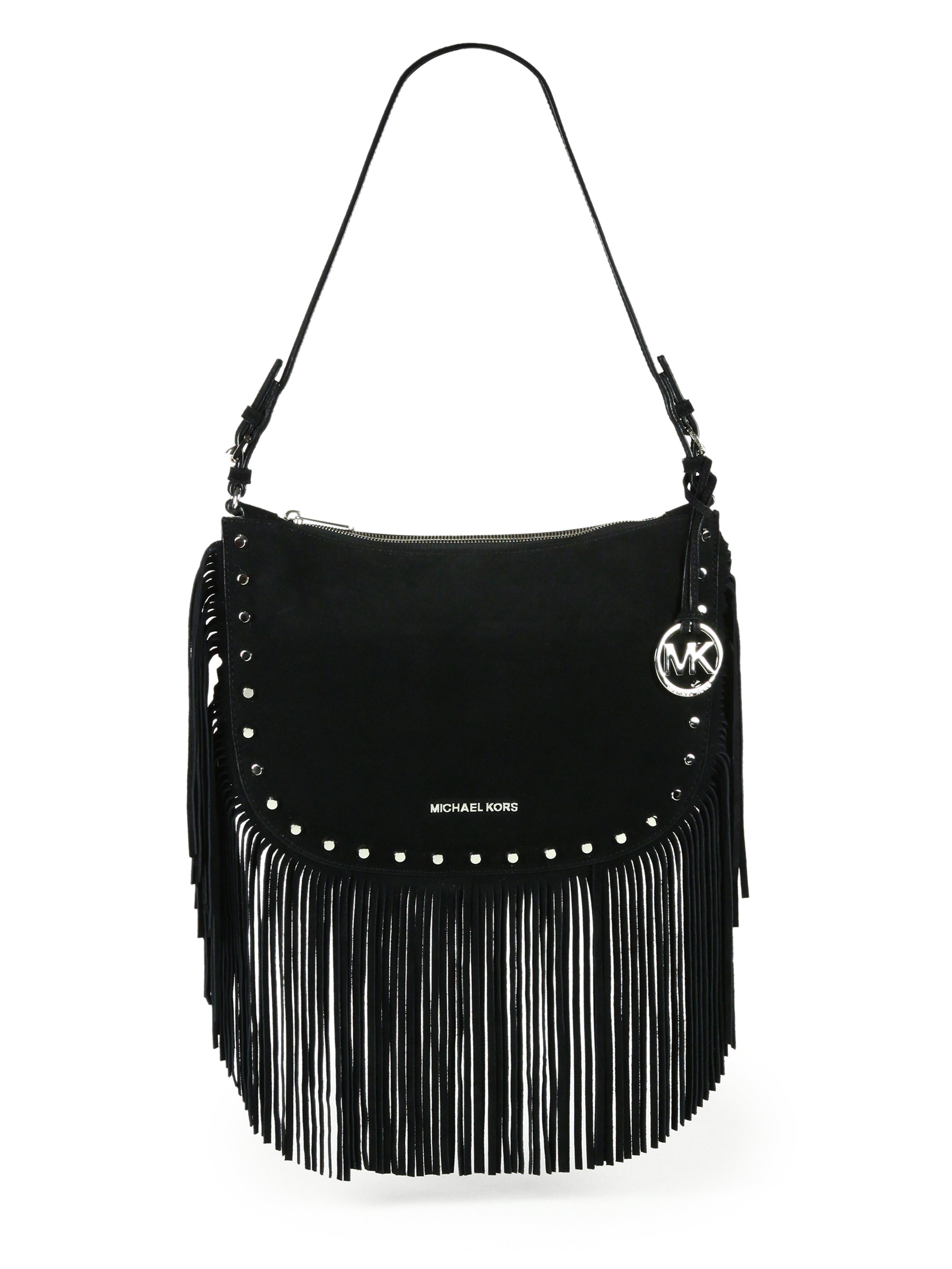 77f2120cfb157d Mk Black With Fringe Crossbody Bags. Michael Kors BILLY Large Fringe  Messenger ...