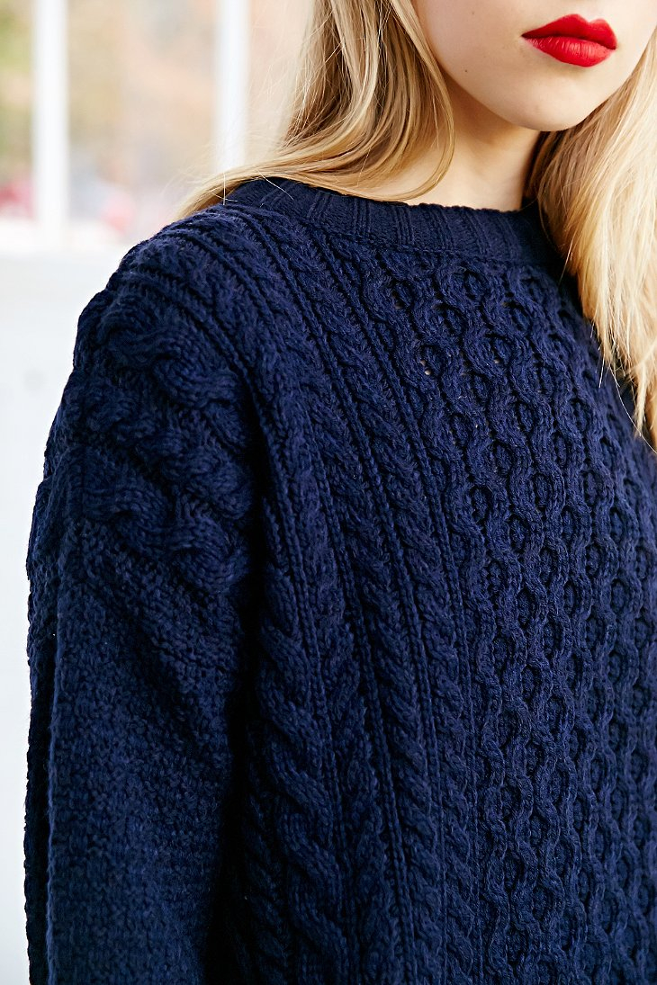 Lyst Bdg Honeycomb Cable Knit Sweater In Blue