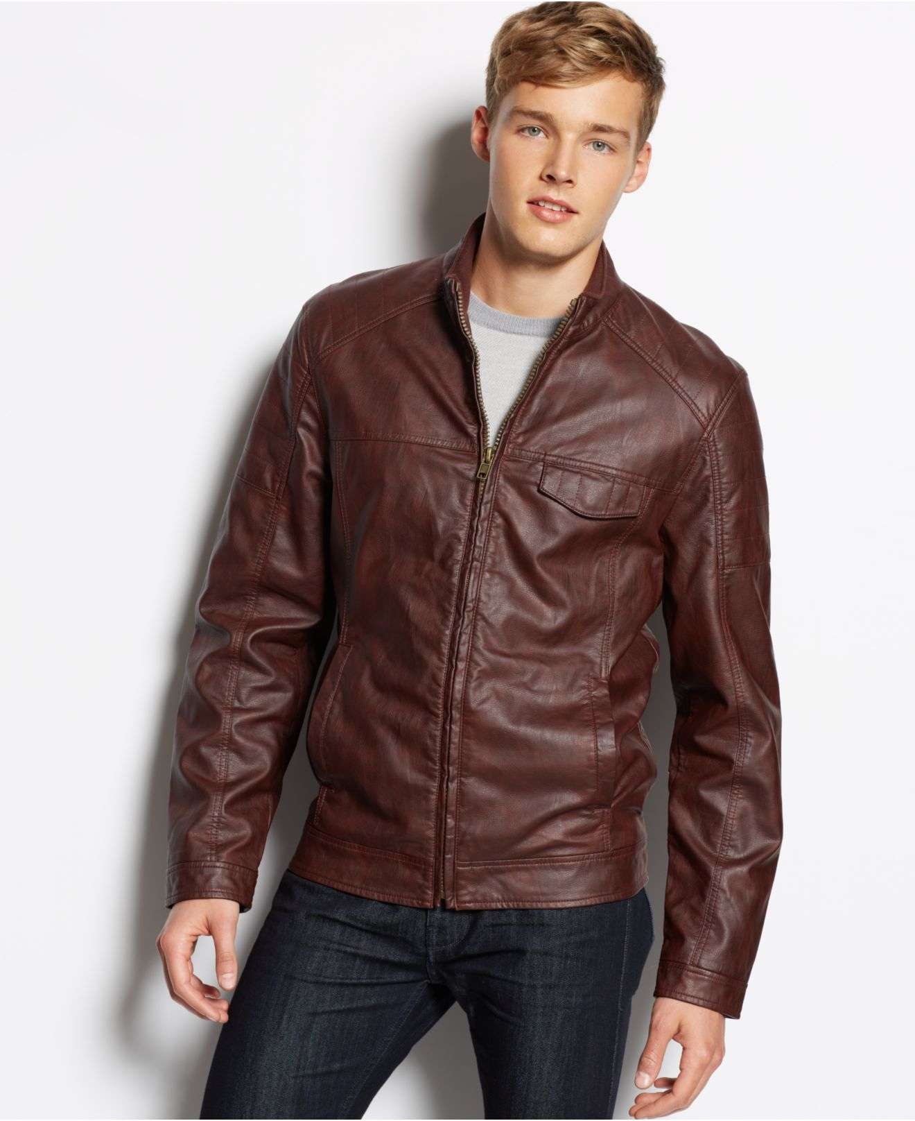 Paper denim and cloth leather jacket