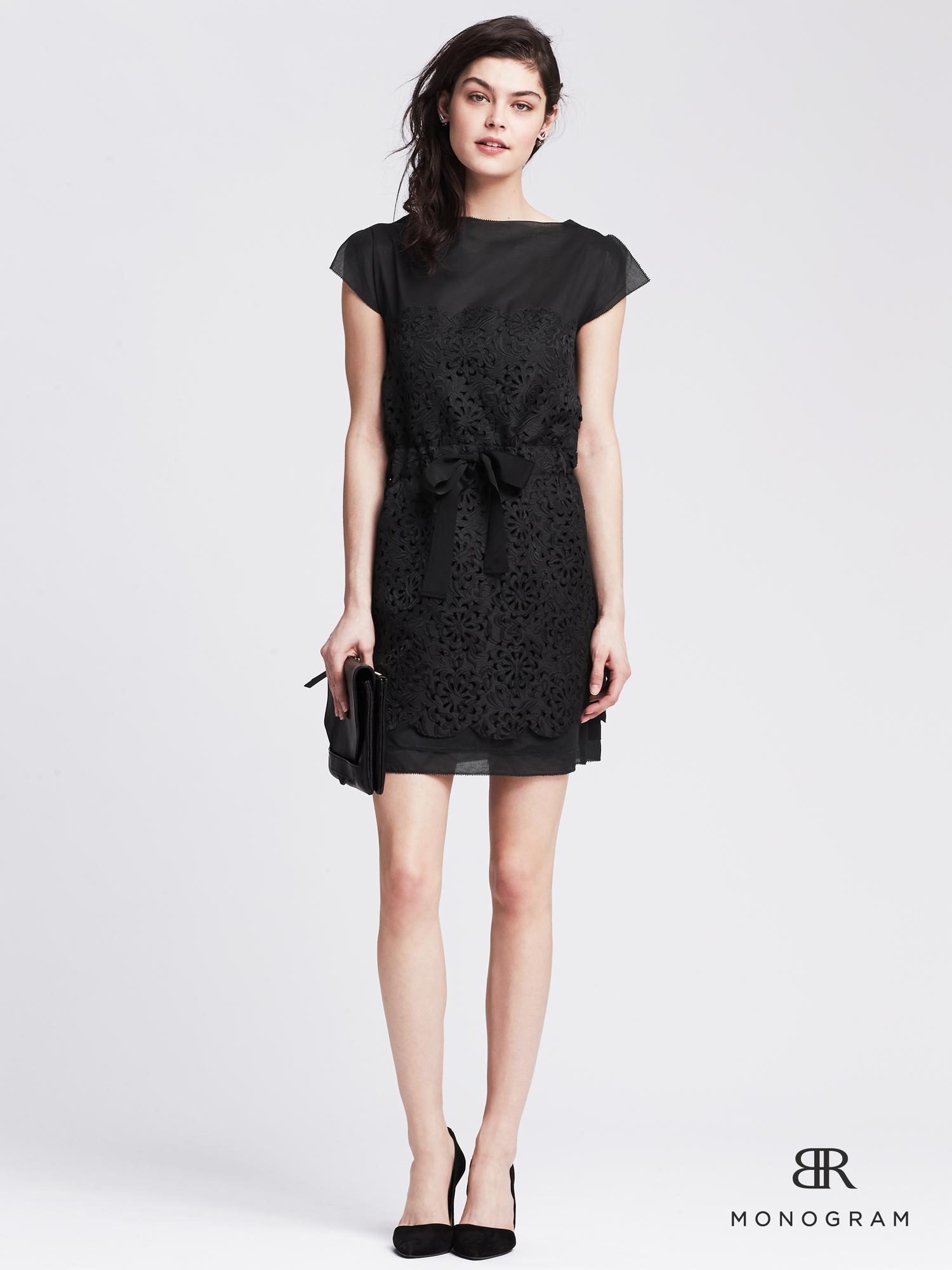 Lyst Banana Republic Br Monogram Cutout Lace Dress In Black