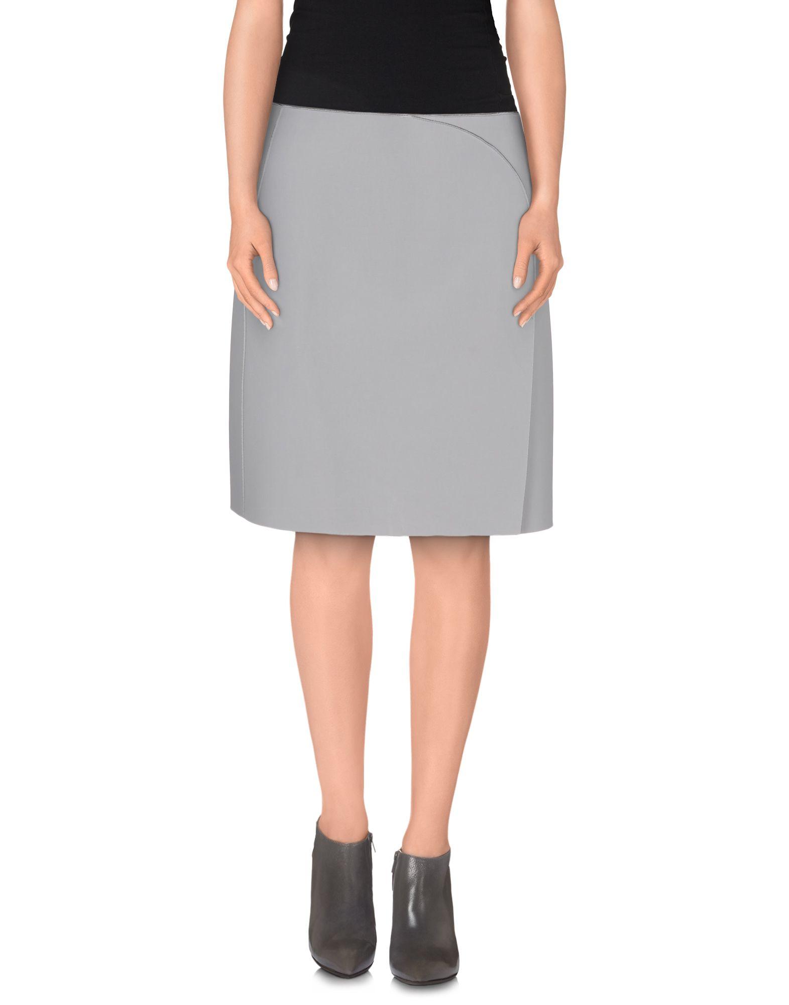 emporio armani knee length skirt in gray lyst