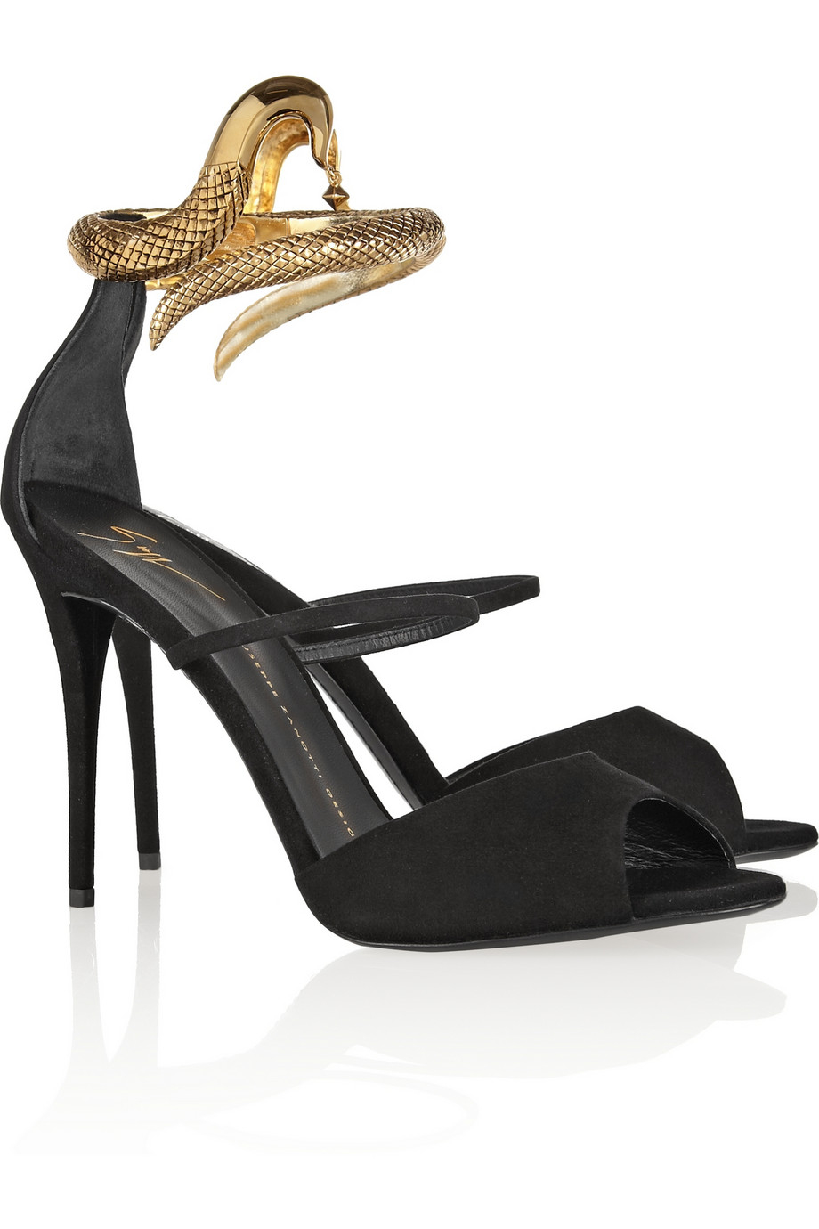 bdff8f18a2369 ... where to buy lyst giuseppe zanotti coline snake effect metal and suede  sandals ad317 f0a1e