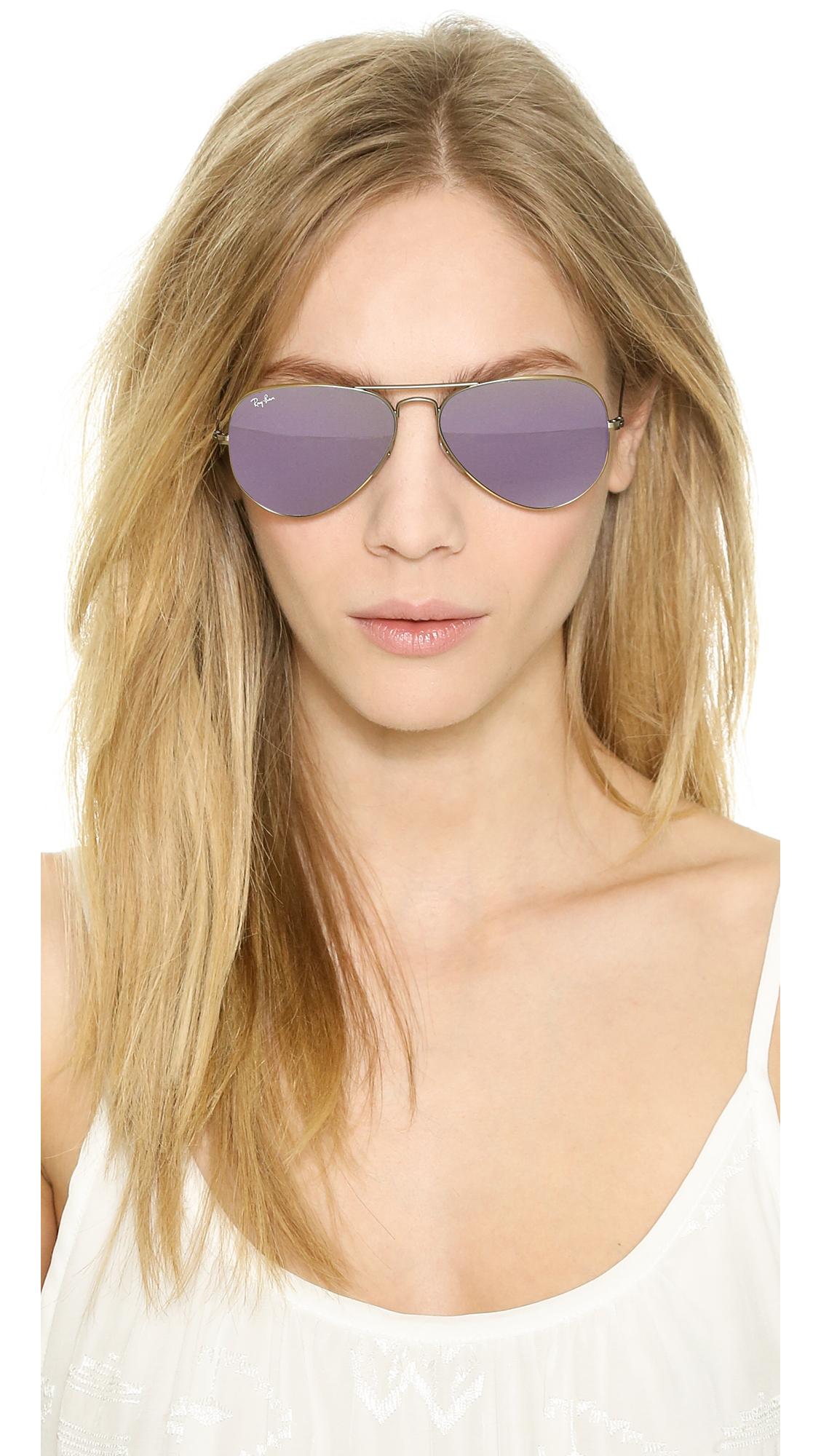 Lyst Ray Ban Mirrored Aviator Sunglasses Bronze Purple