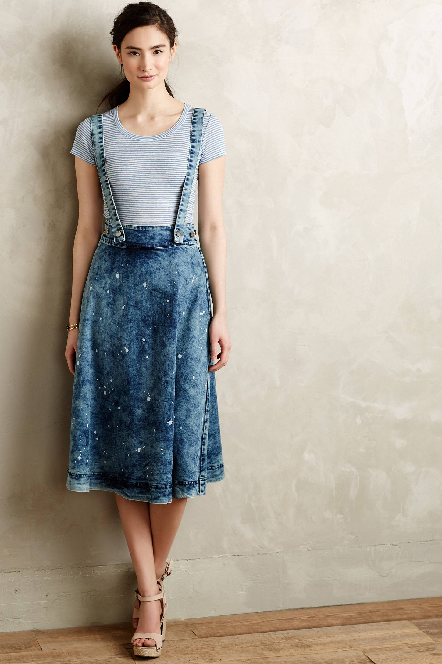 Plenty by tracy reese Splattered Denim Overall Skirt in Blue | Lyst