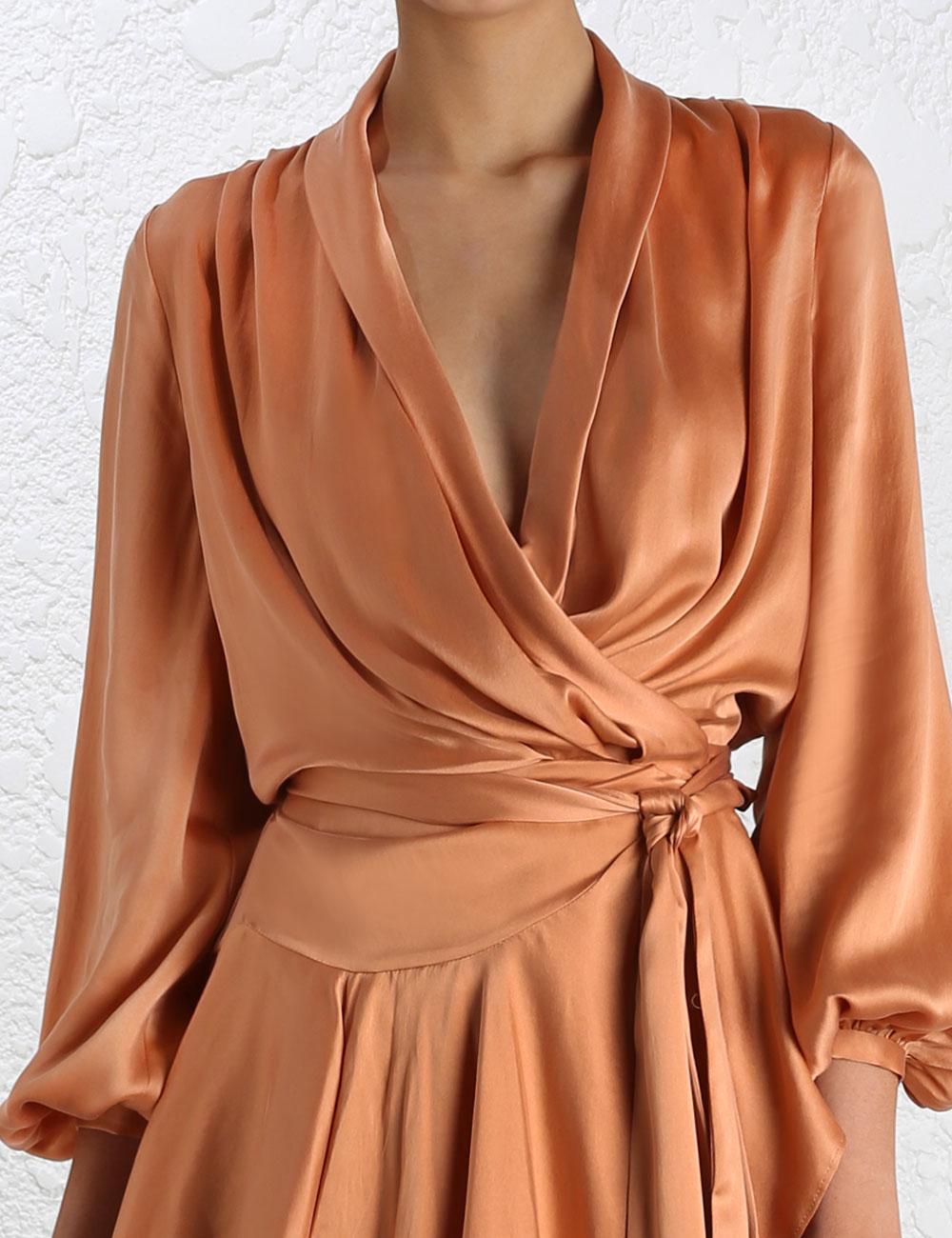 zimmermann empire sueded robe dress in orange lyst. Black Bedroom Furniture Sets. Home Design Ideas