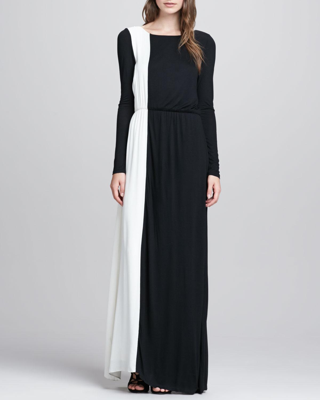 361700468cc7 Alice + Olivia Long Sleeve Two Tone Maxi Dress in Black - Lyst