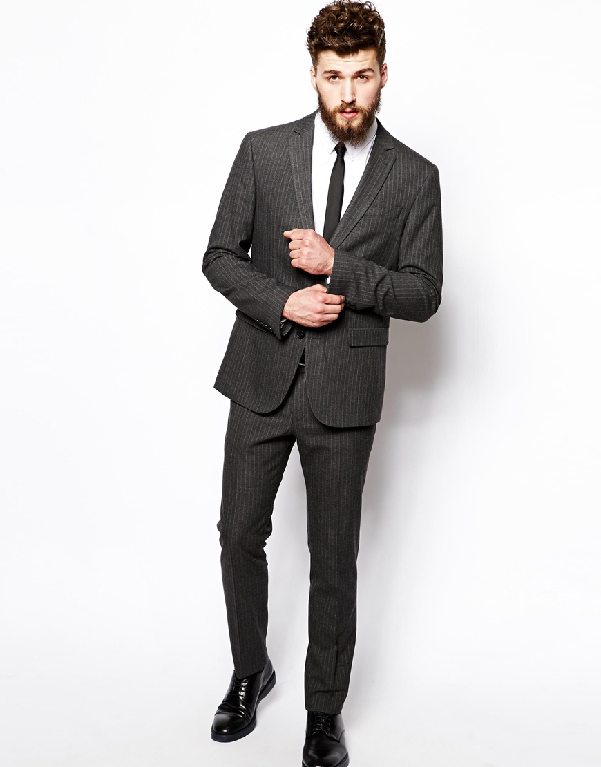 Asos Slim Fit Suit Trousers In Pinstripe in Gray for Men | Lyst