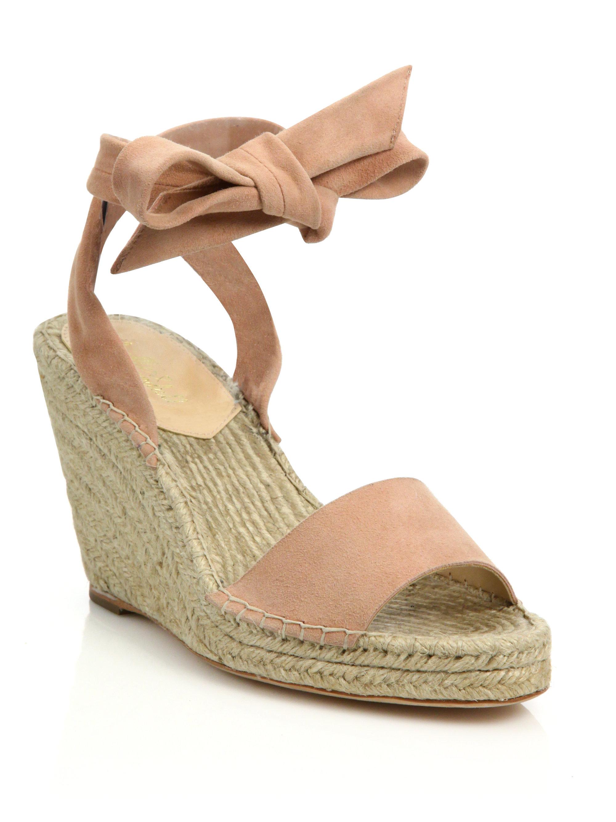 893e63ef42a Lyst - Loeffler Randall Harper Suede Espadrille Wedge Sandals in Pink