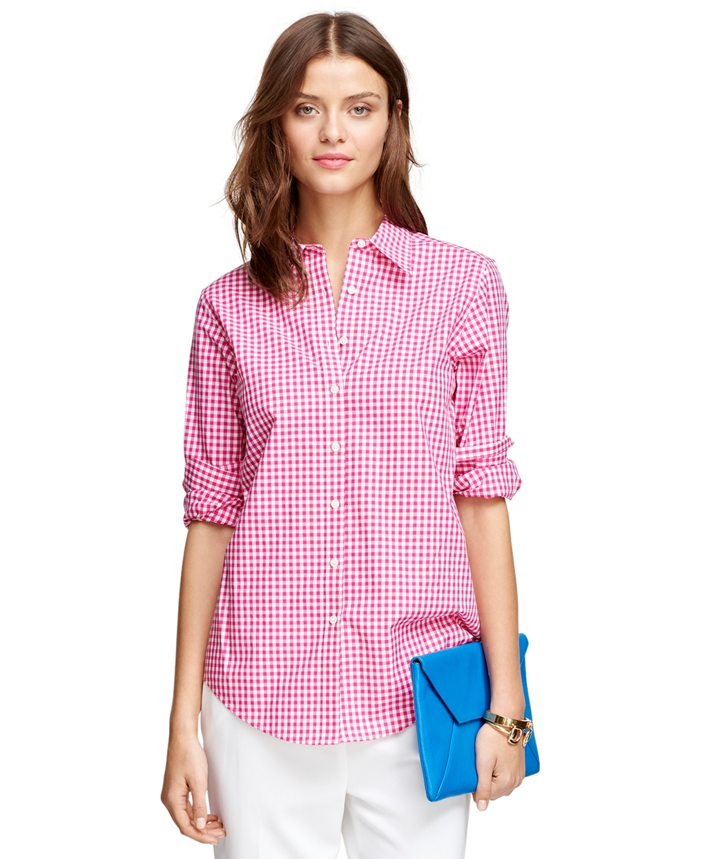 Brooks brothers non iron classic fit gingham dress shirt for Brooks brothers dress shirt fit guide