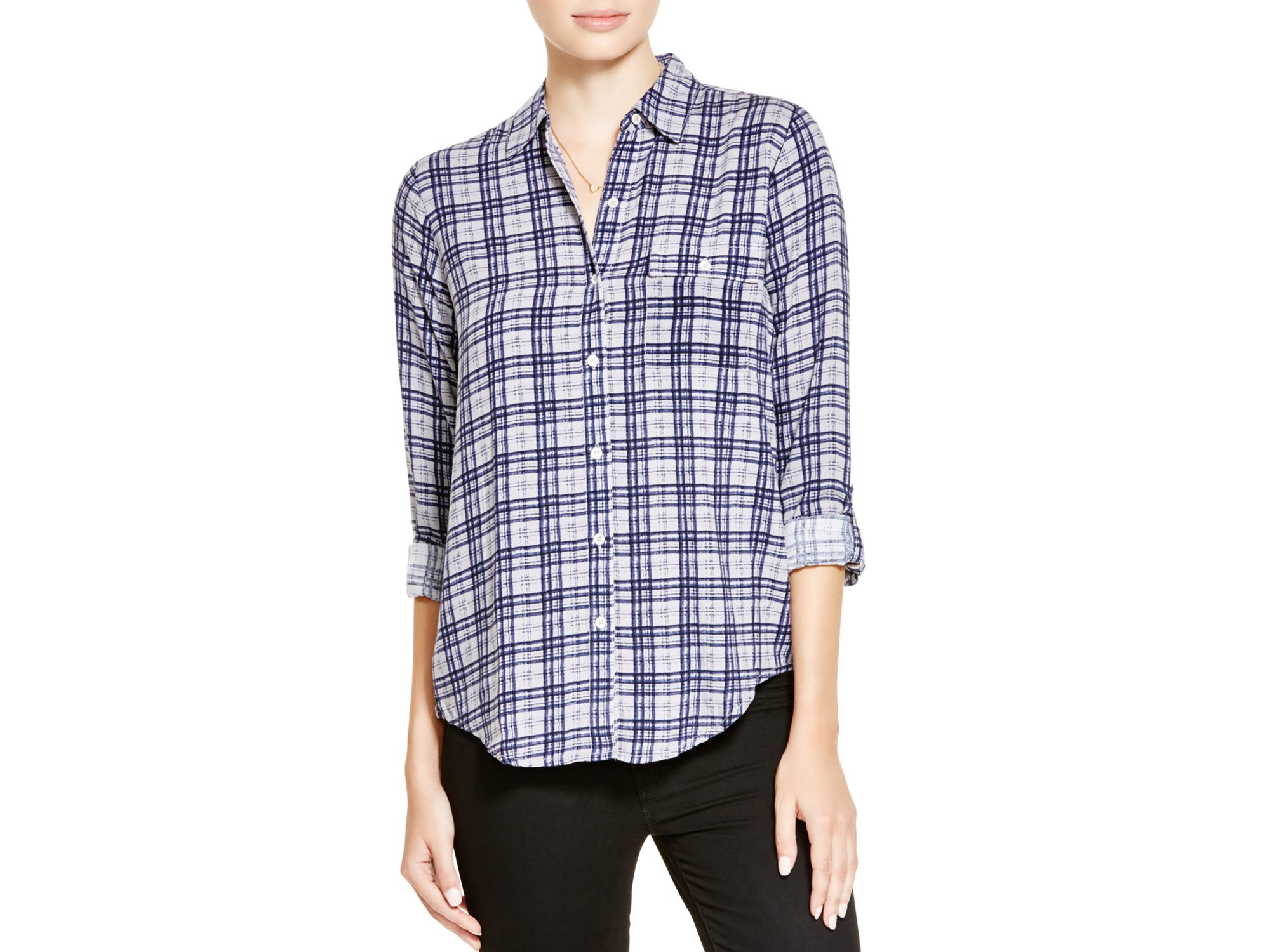 Soft joie onyx plaid shirt lyst for Soft joie plaid shirt