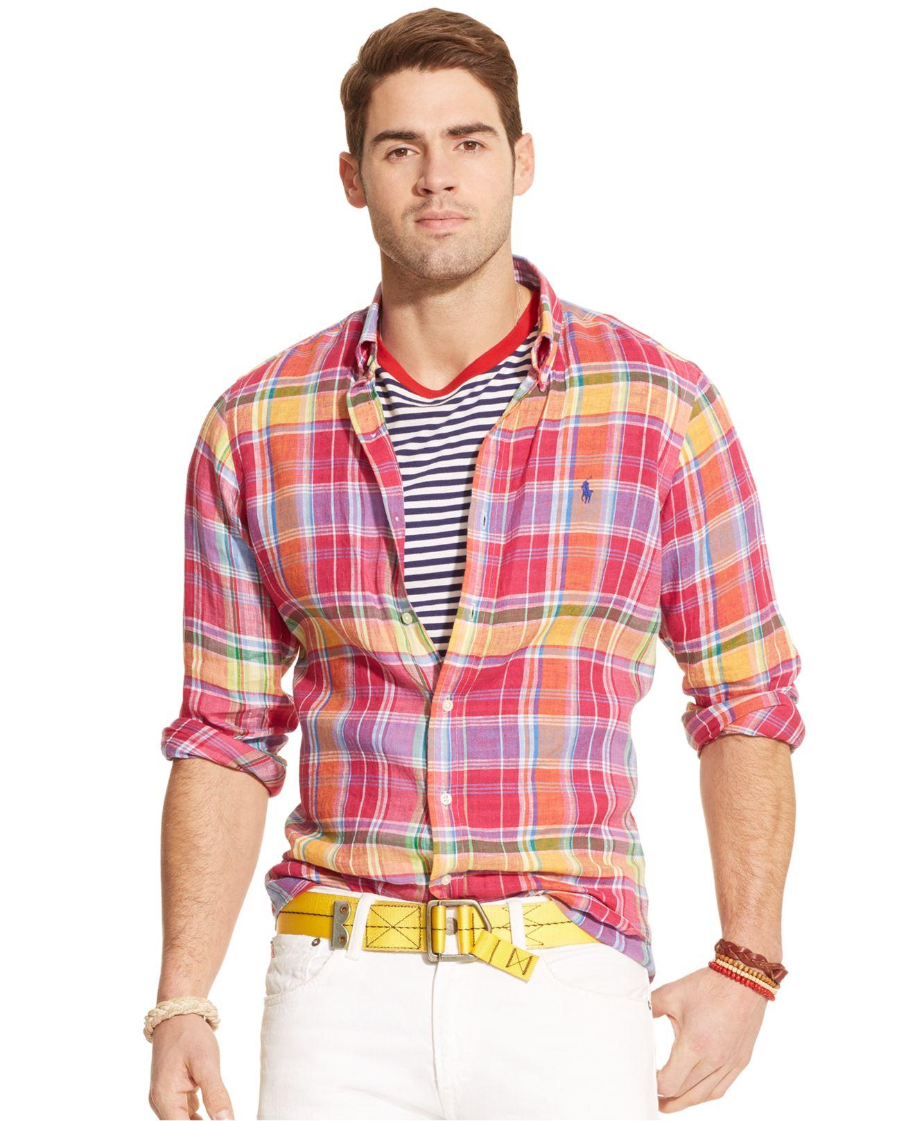 Lyst Polo Ralph Lauren Plaid Linen Shirt In Red For Men