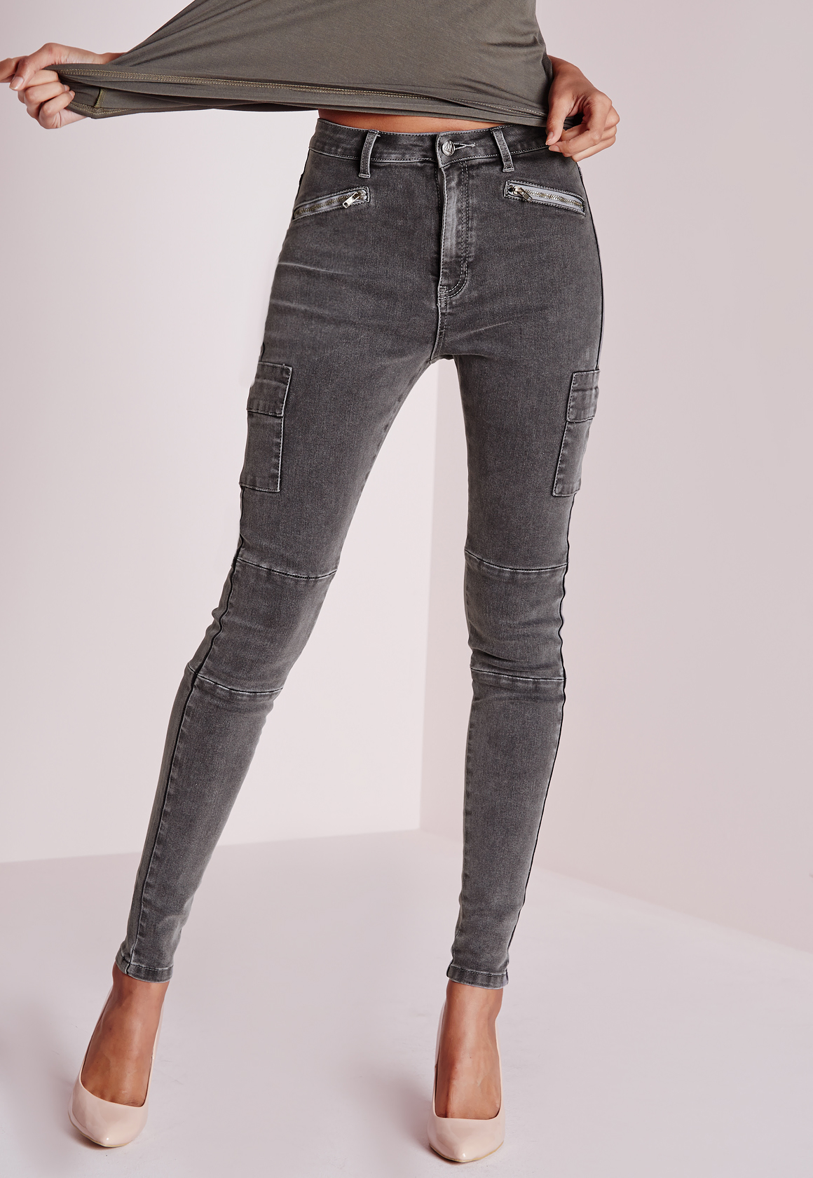 Missguided Sinner High Waisted Zipped Cargo Skinny Jeans Charcoal ...