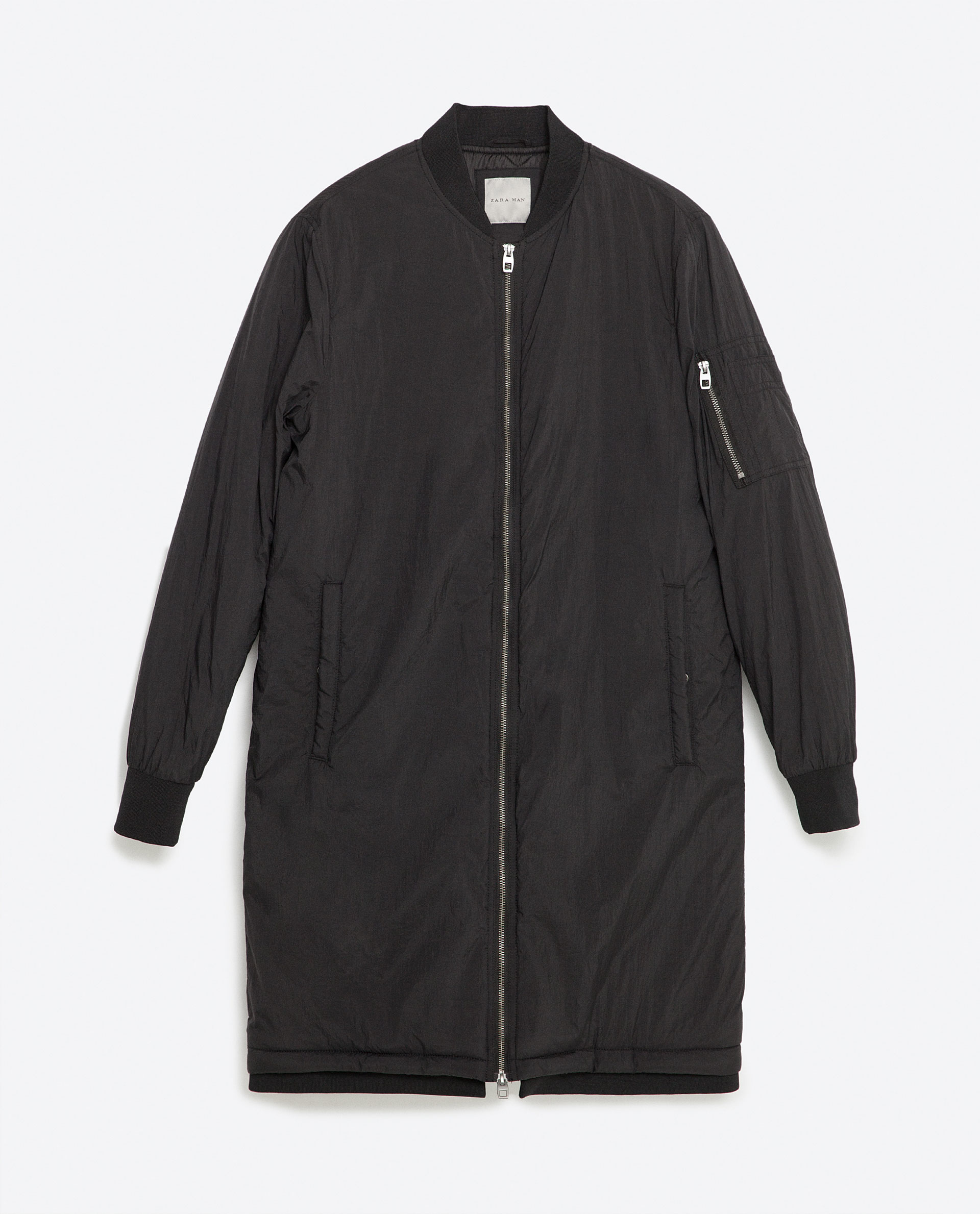 Zara Long Bomber Jacket for Men | Lyst