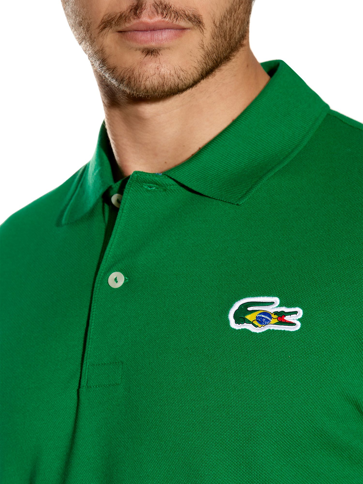 lyst lacoste brazil themed polo shirt in green for men