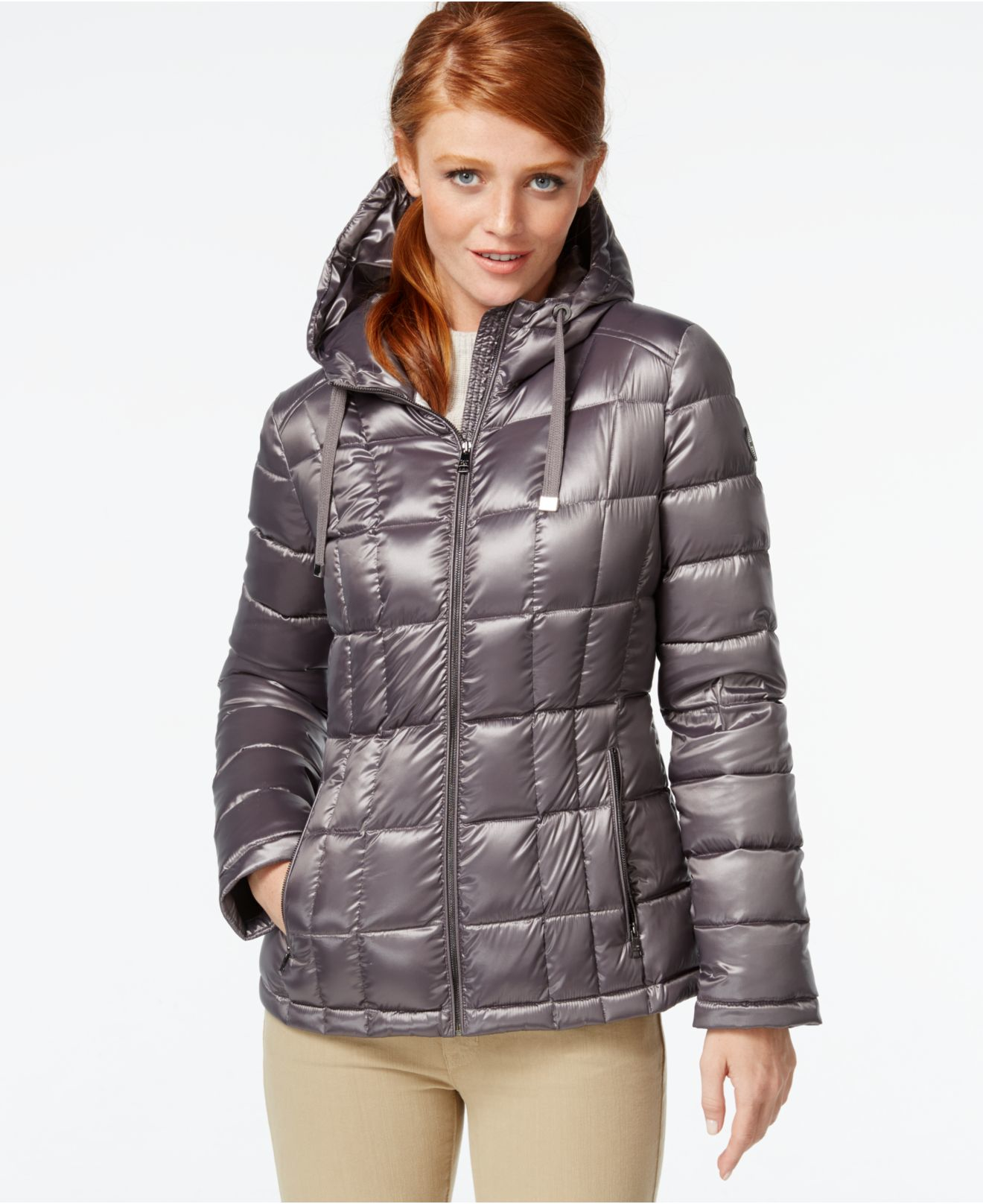 Calvin Klein Petite Packable Hooded Puffer Jacket In Gray