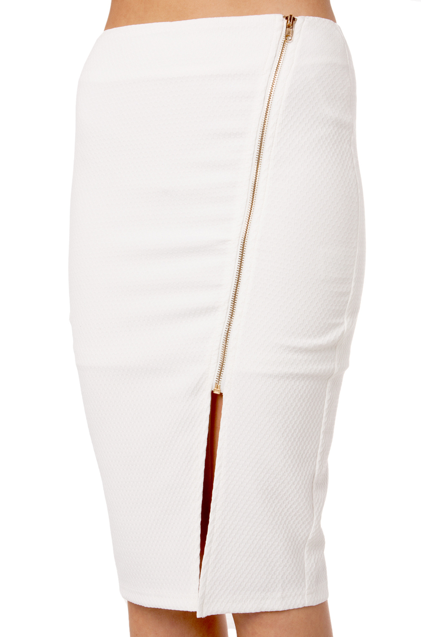 Akira Pencil Skirt W Zipper in White | Lyst