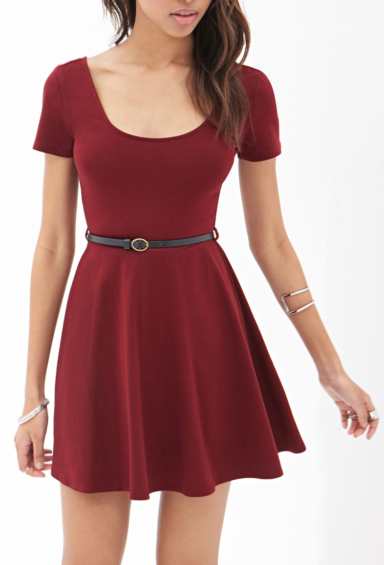 9f6b7abff5 Forever 21 Belted Skater Dress in Red - Lyst