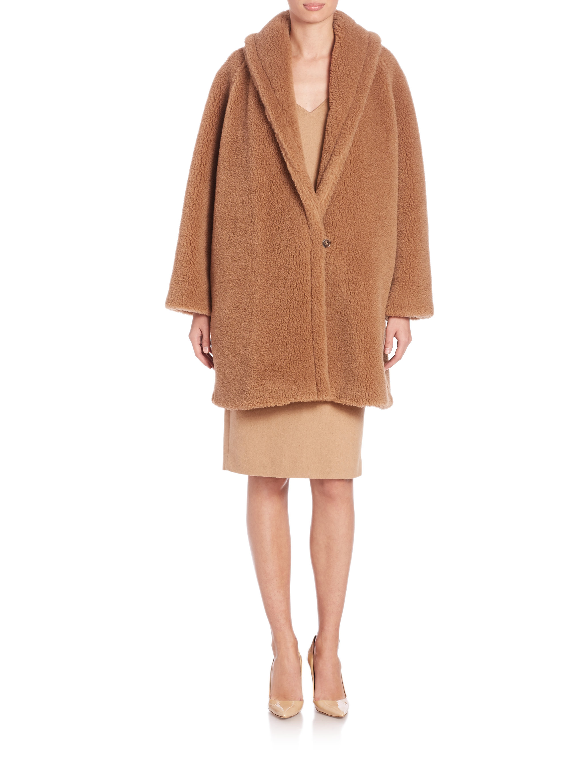 Max Mara Armenia Faux Fur Teddy Coat In Brown Lyst