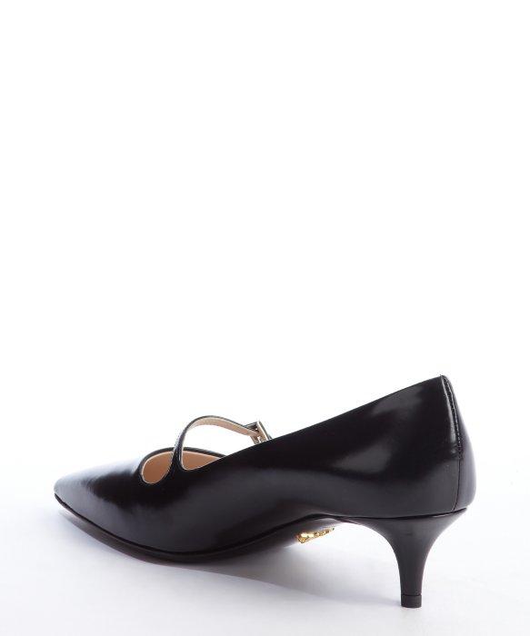 Prada Black Leather Pointed Toe Mary Jane Strap Kitten Heel Pumps ...