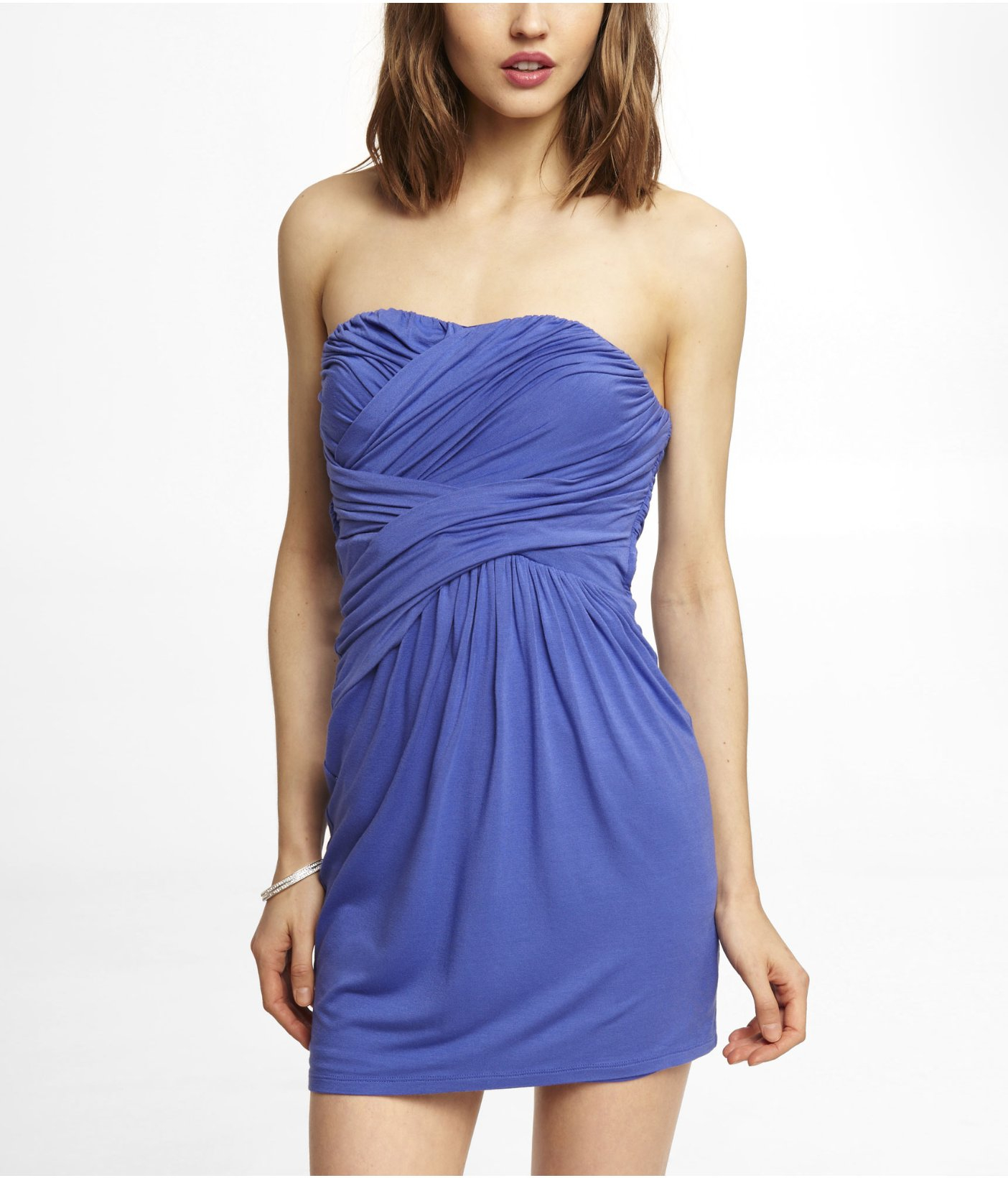Express Ruched Knit Strapless Dress in Blue   Lyst