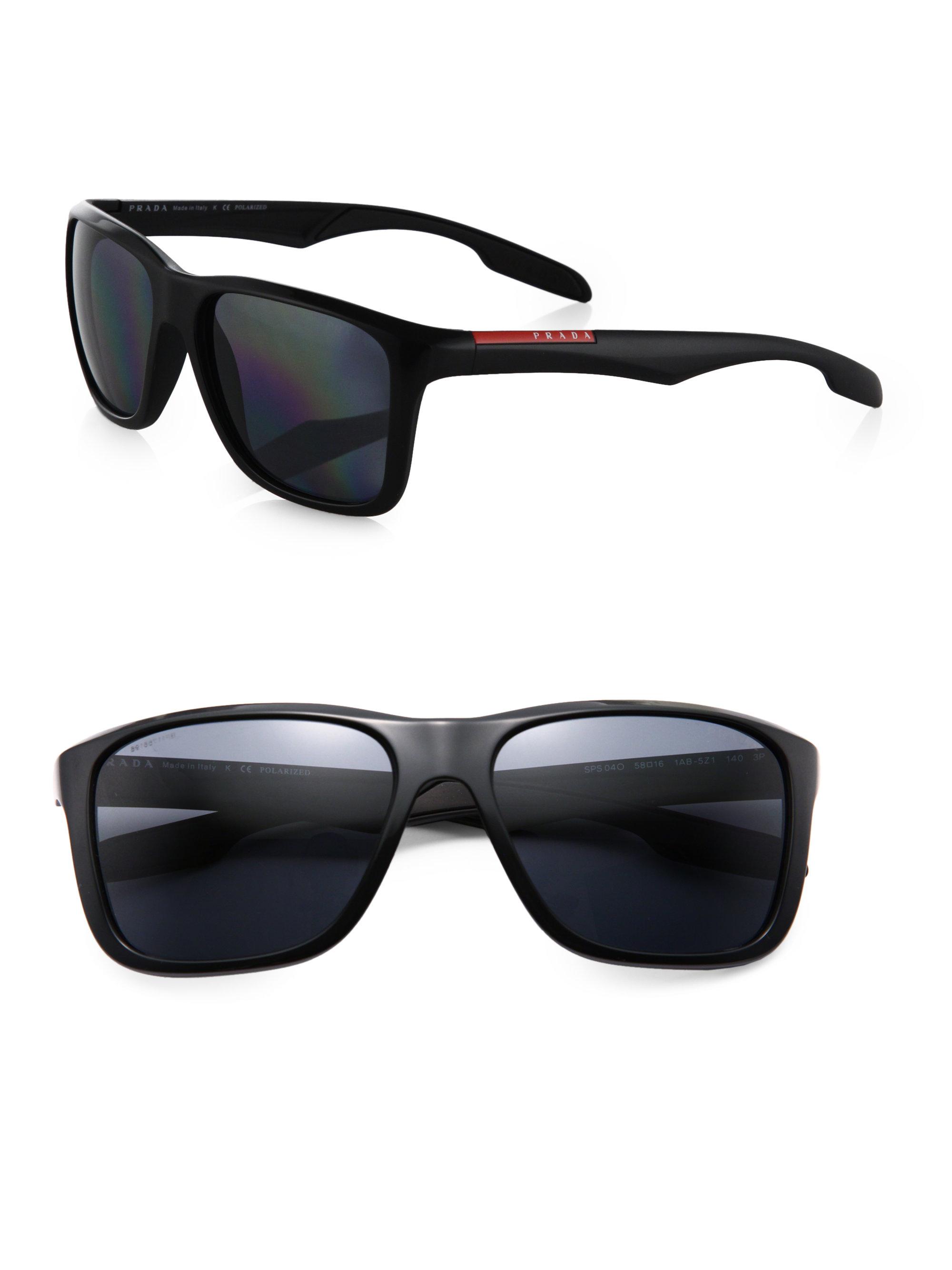 e4c2964fb218 Prada Square Aviator Sunglasses in Black for Men - Lyst