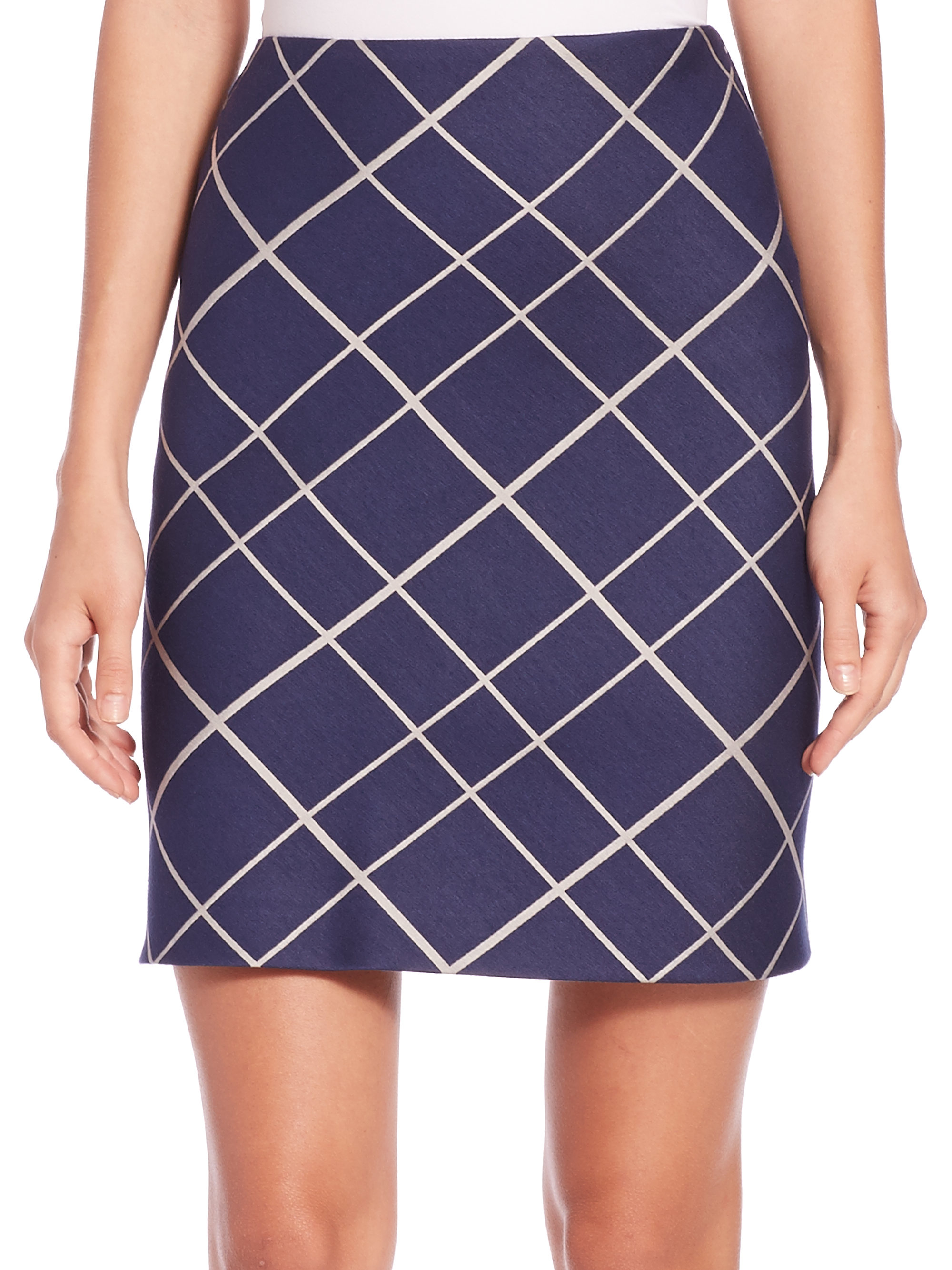 aquilano rimondi plaid a line skirt in blue lyst