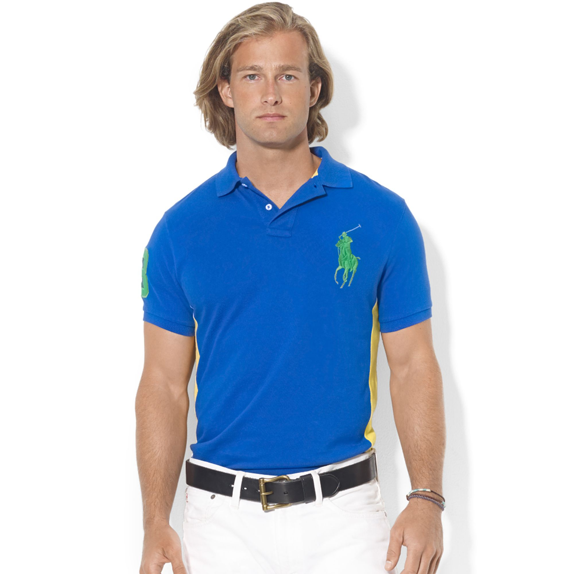 Ralph lauren Custom-fit Colorblocked Big Pony Mesh Polo in Blue for Men (Pacific