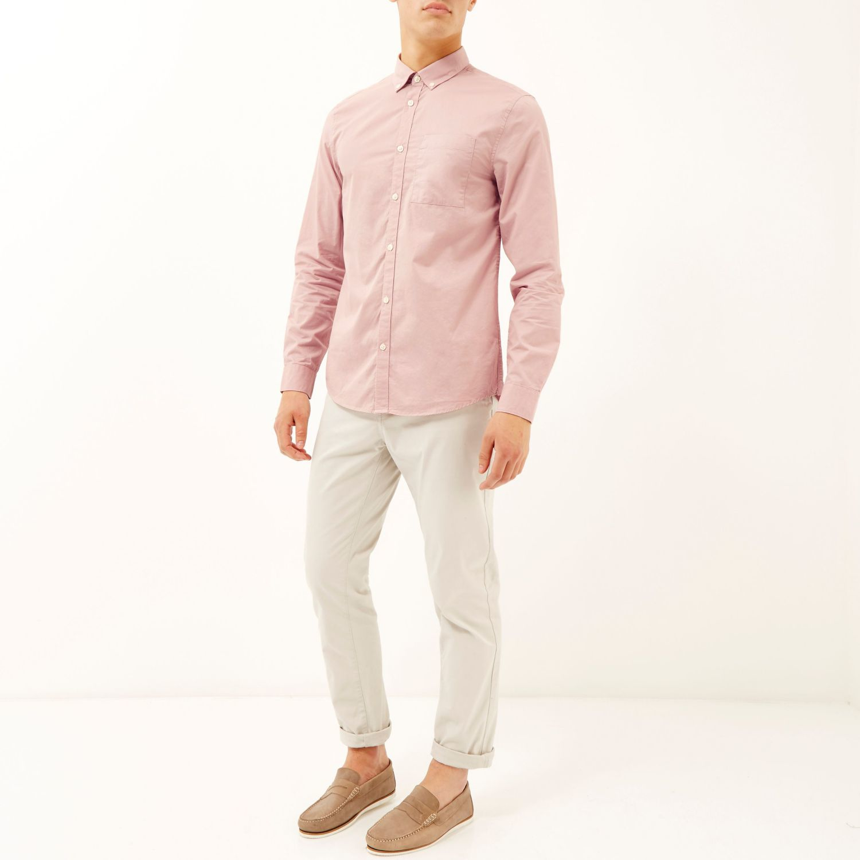 River Island Pink Shirt Button Dress