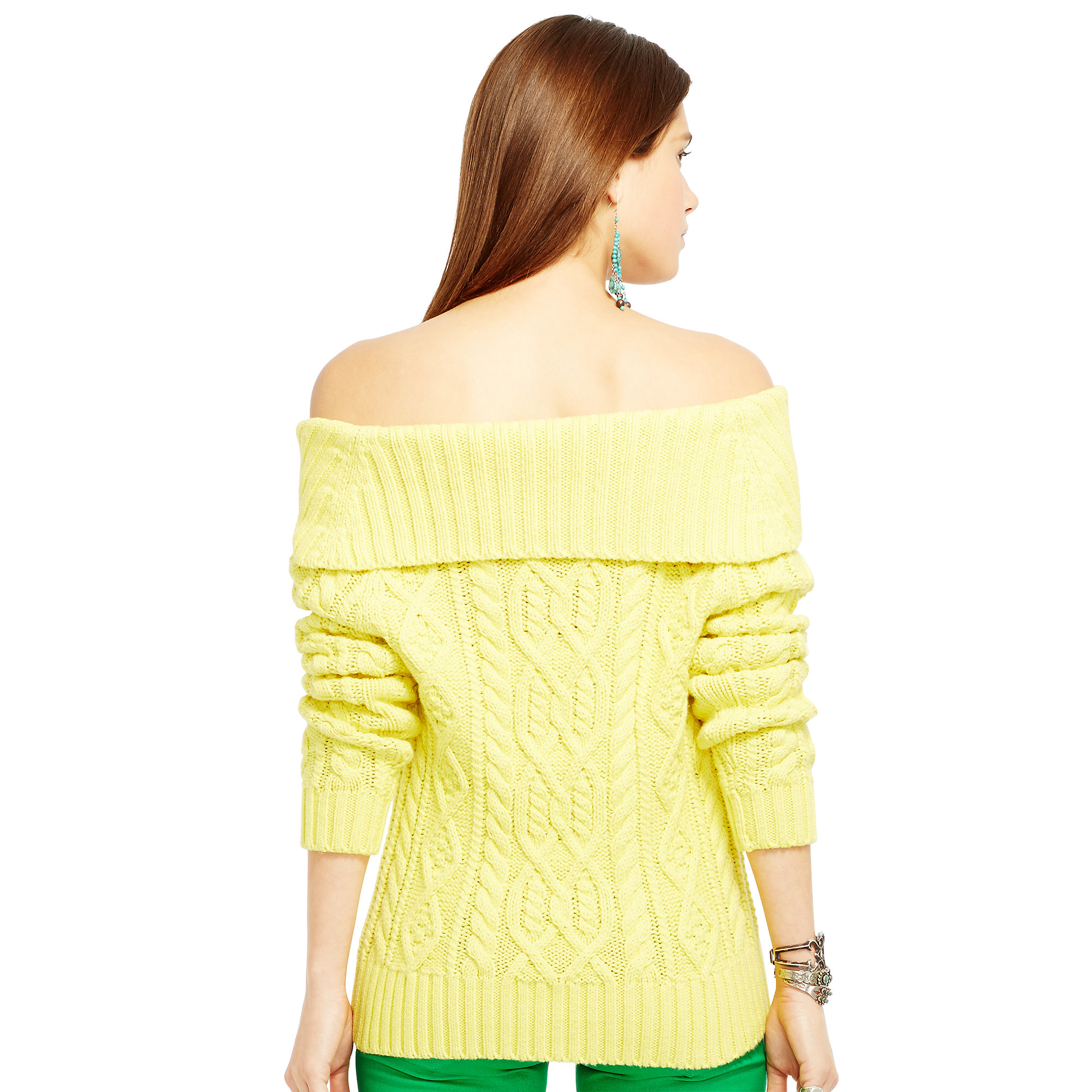 Polo ralph lauren Off-The-Shoulder Sweater in Yellow | Lyst