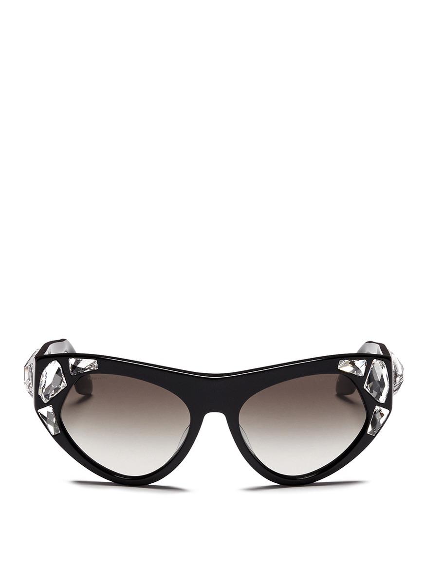 d1e726162c75 Lyst - Prada  voice  Crystal Cat Eye Acetate Sunglasses in Black