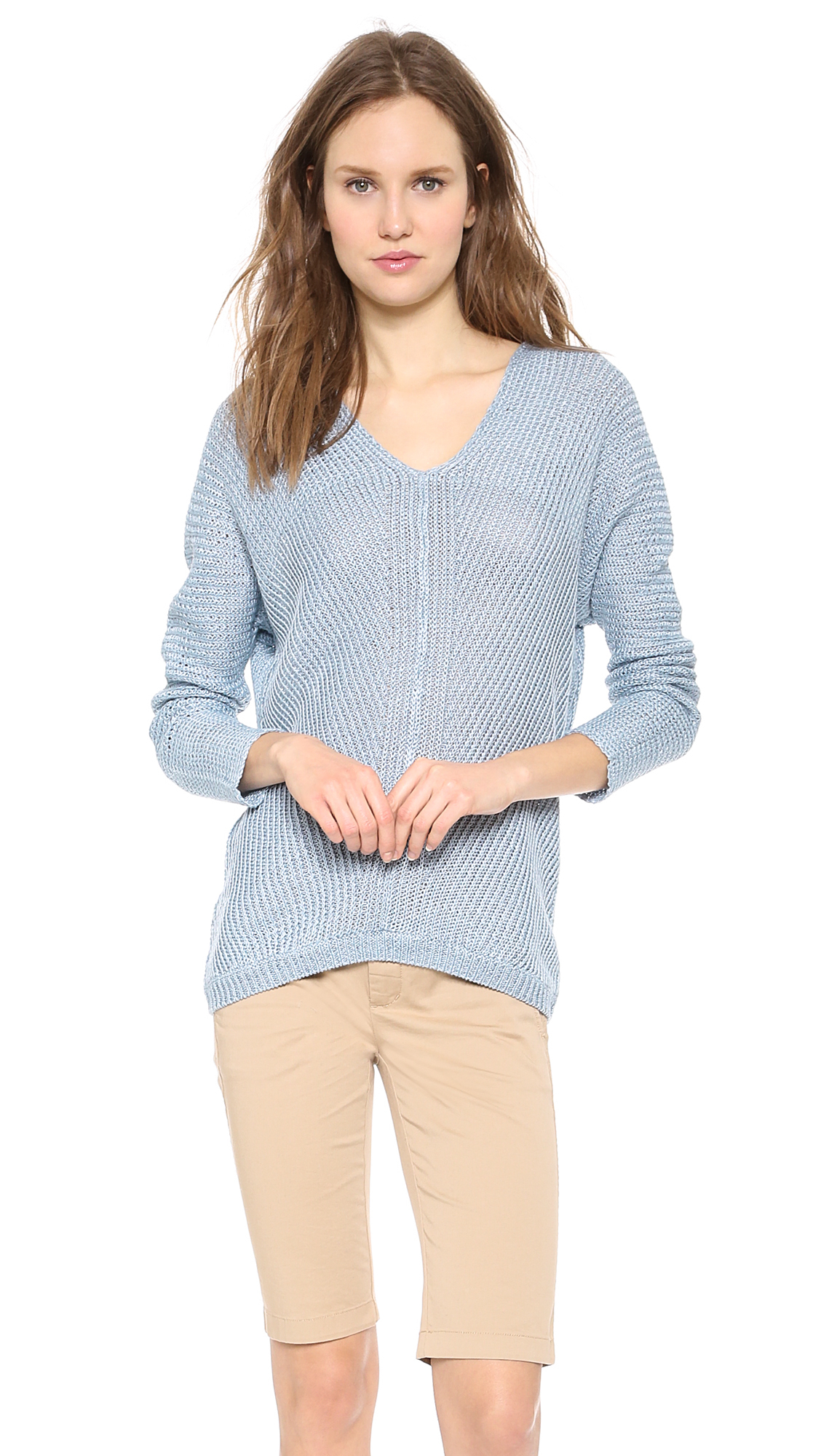 Vince Linen V Neck Sweater Chambray In Blue Lyst