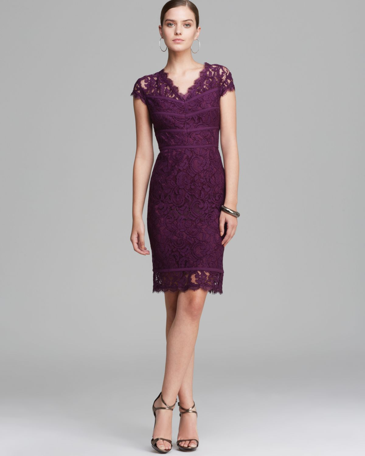 Adrianna Papell Dress Cap Sleeve Lace in Purple - Lyst