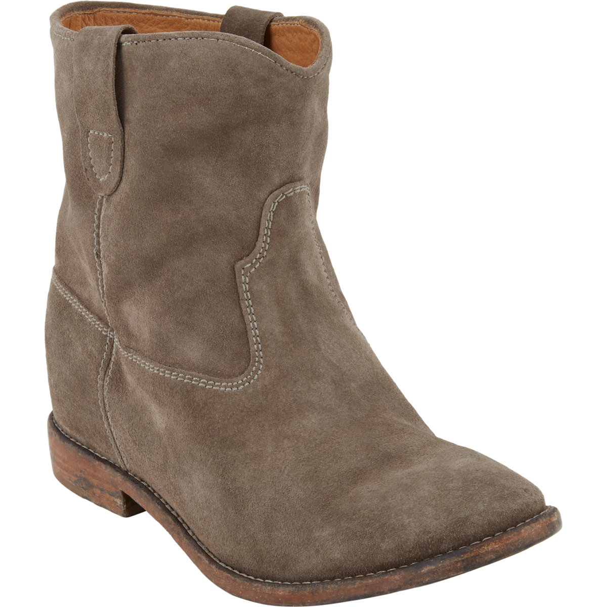 toile isabel marant crisi ankle boots in gray grey lyst. Black Bedroom Furniture Sets. Home Design Ideas