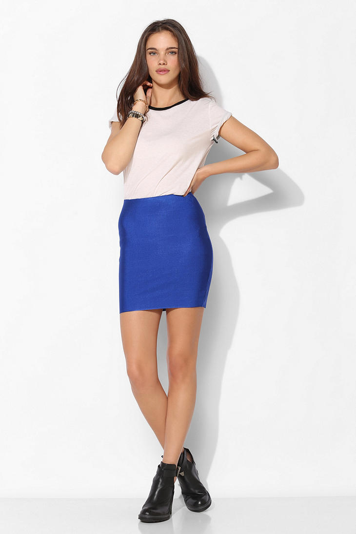 Urban outfitters Sparkle Fade Bodycon Bandage Mini Skirt in Blue ...