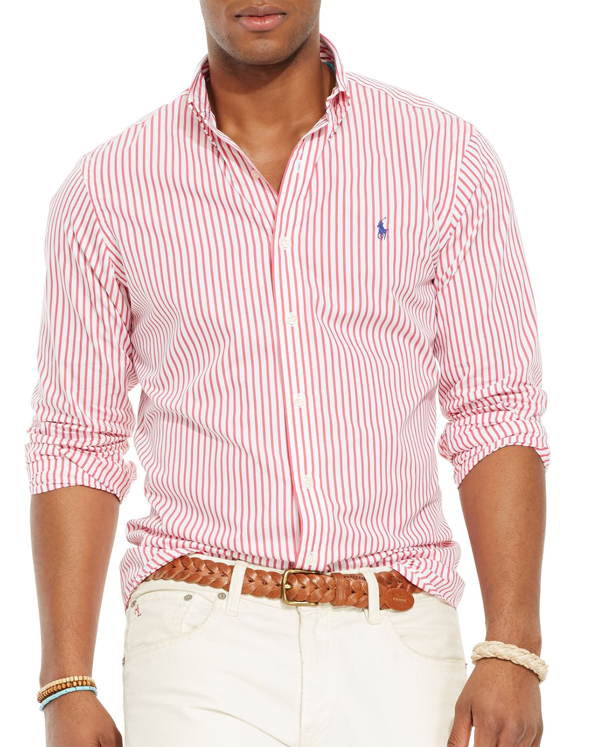 Red And White Button Down Shirt