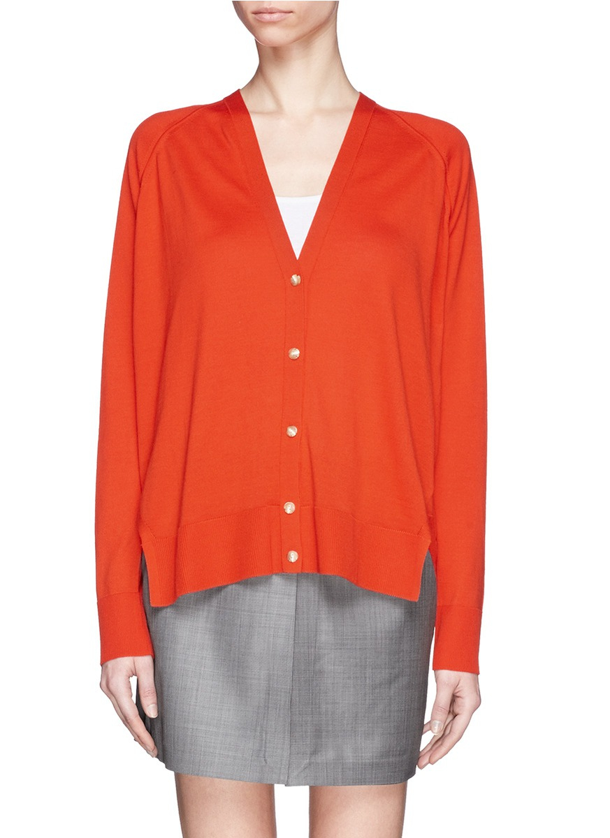 Alexander wang Split Hem Silk-cotton Cardigan in Red | Lyst