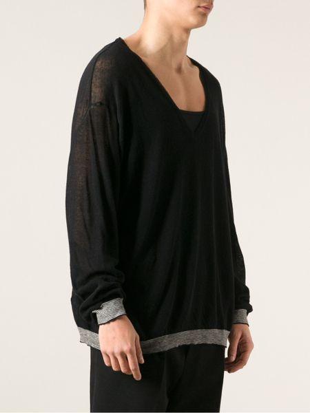 haider ackermann oversized knit sweater in black for men. Black Bedroom Furniture Sets. Home Design Ideas