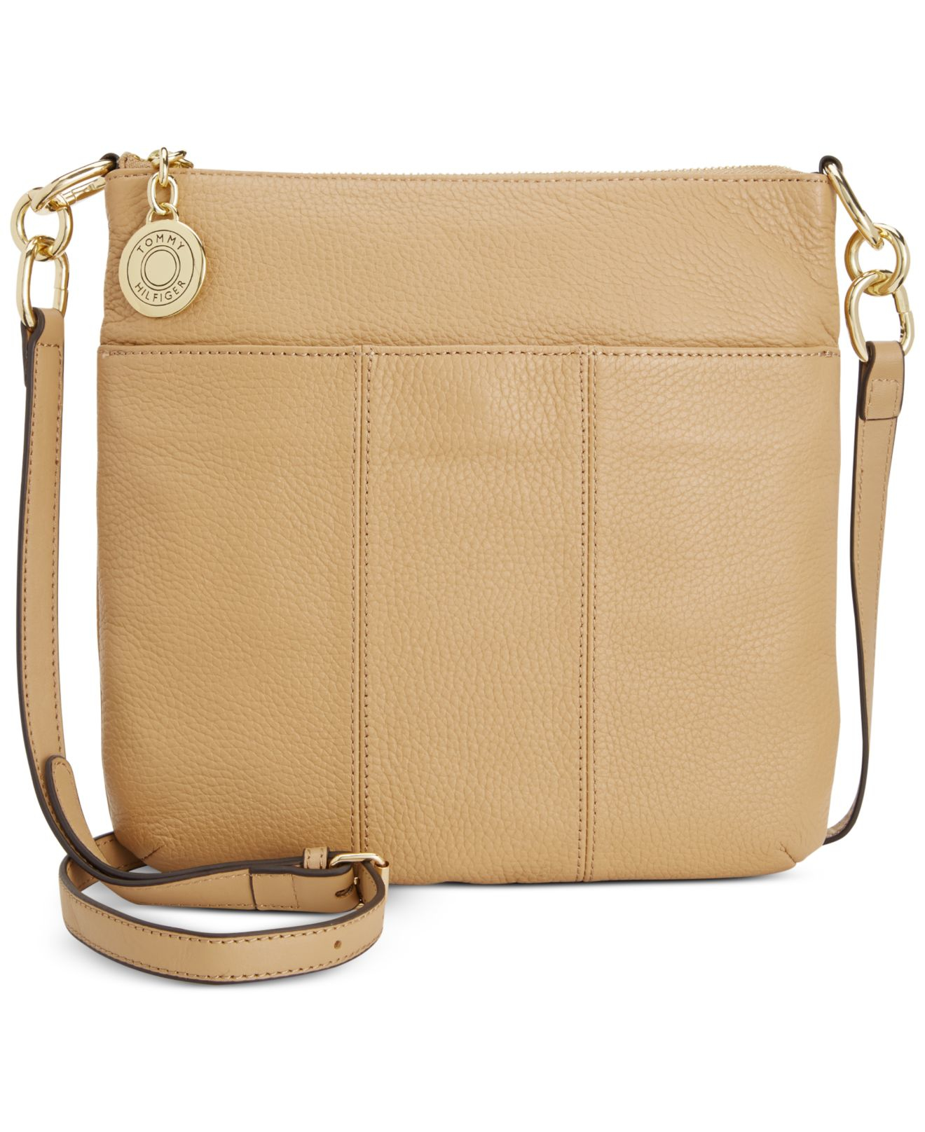 eea13472208 Tommy Hilfiger Th Signature Pebble Leather Crossbody in Brown - Lyst