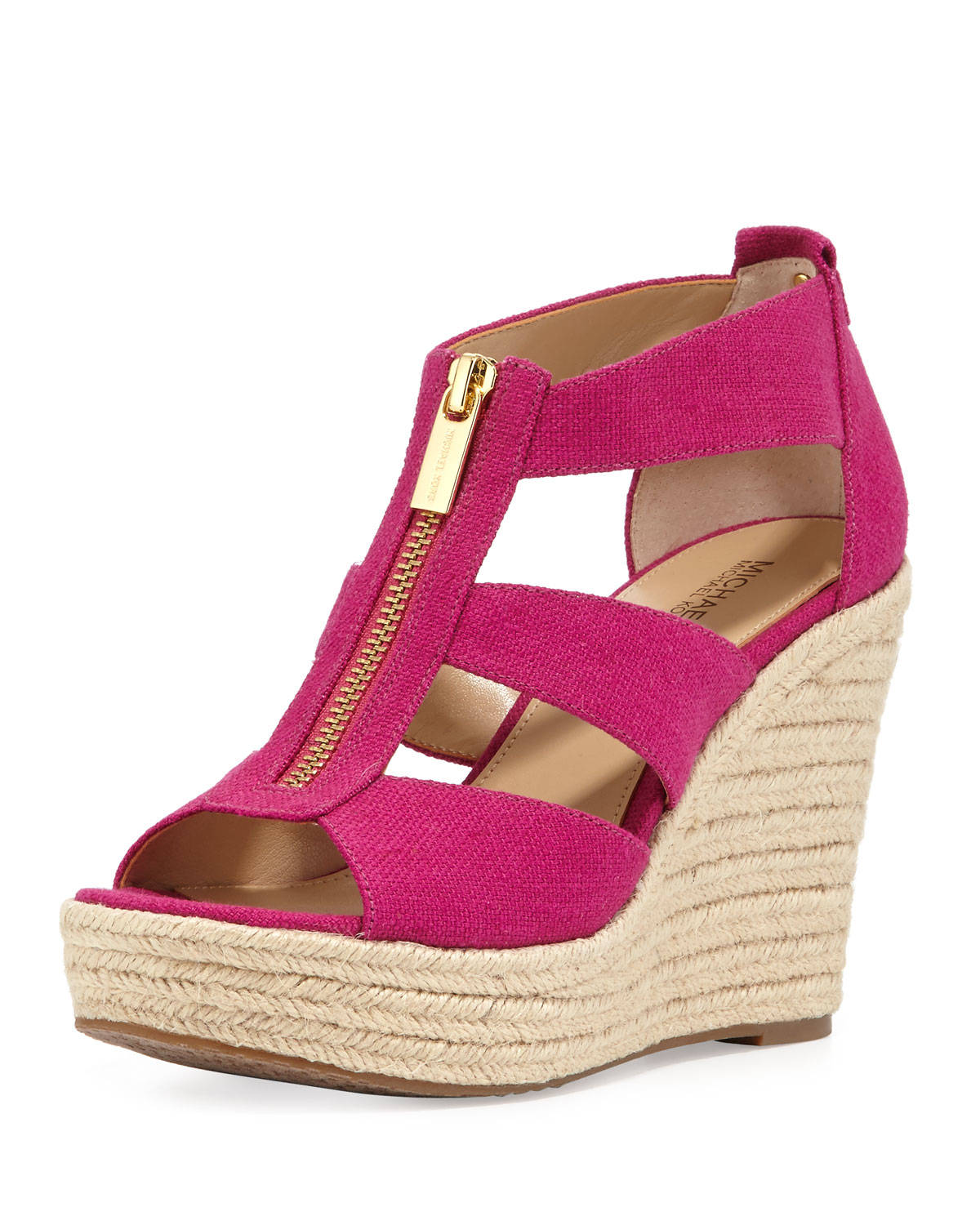 3b35e0a14d2 Lyst - MICHAEL Michael Kors Damita Zip-Front Canvas Wedges in Pink