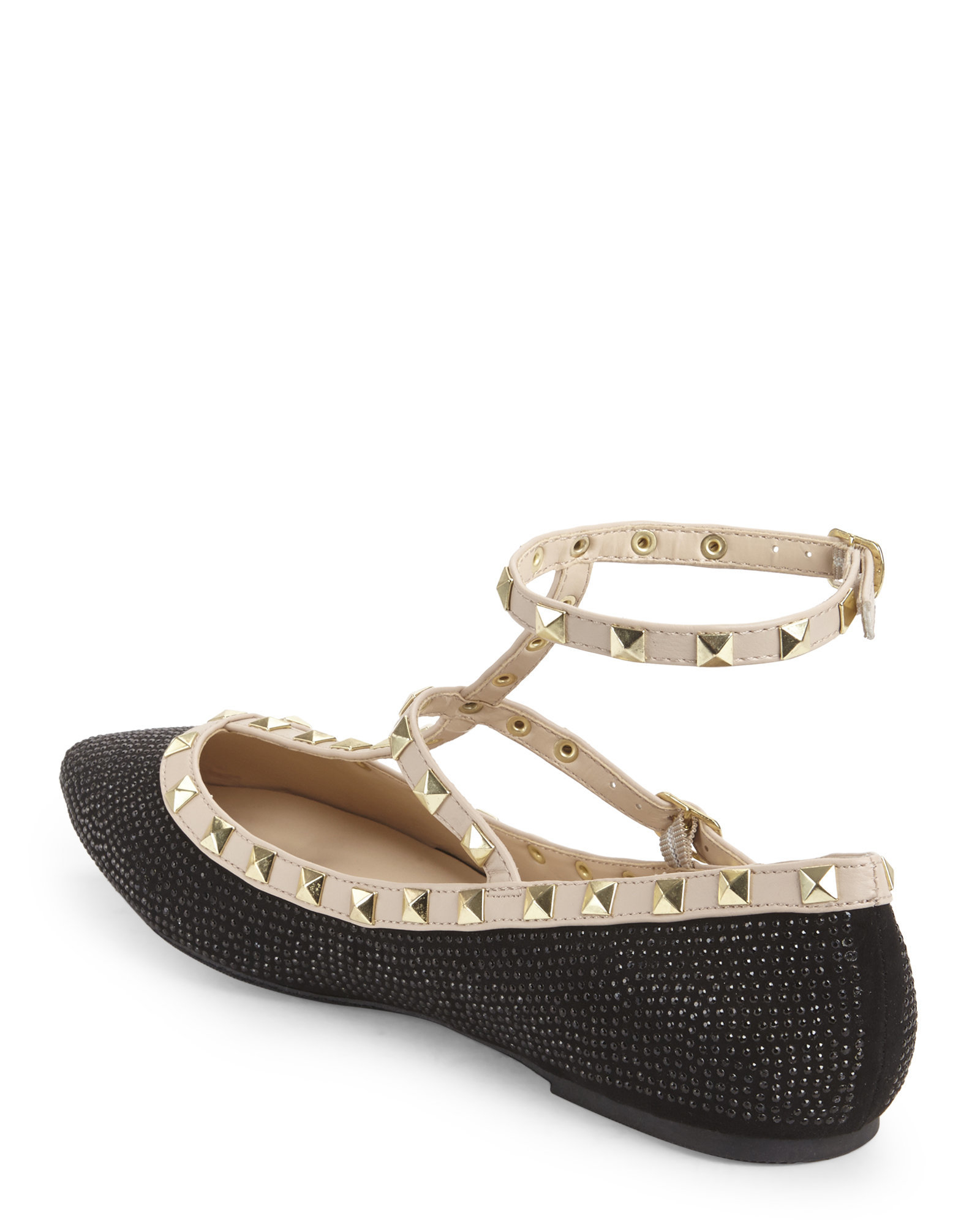 Lyst - Wild Diva Black Patent  Nude Pippa Studded T-Strap -5544