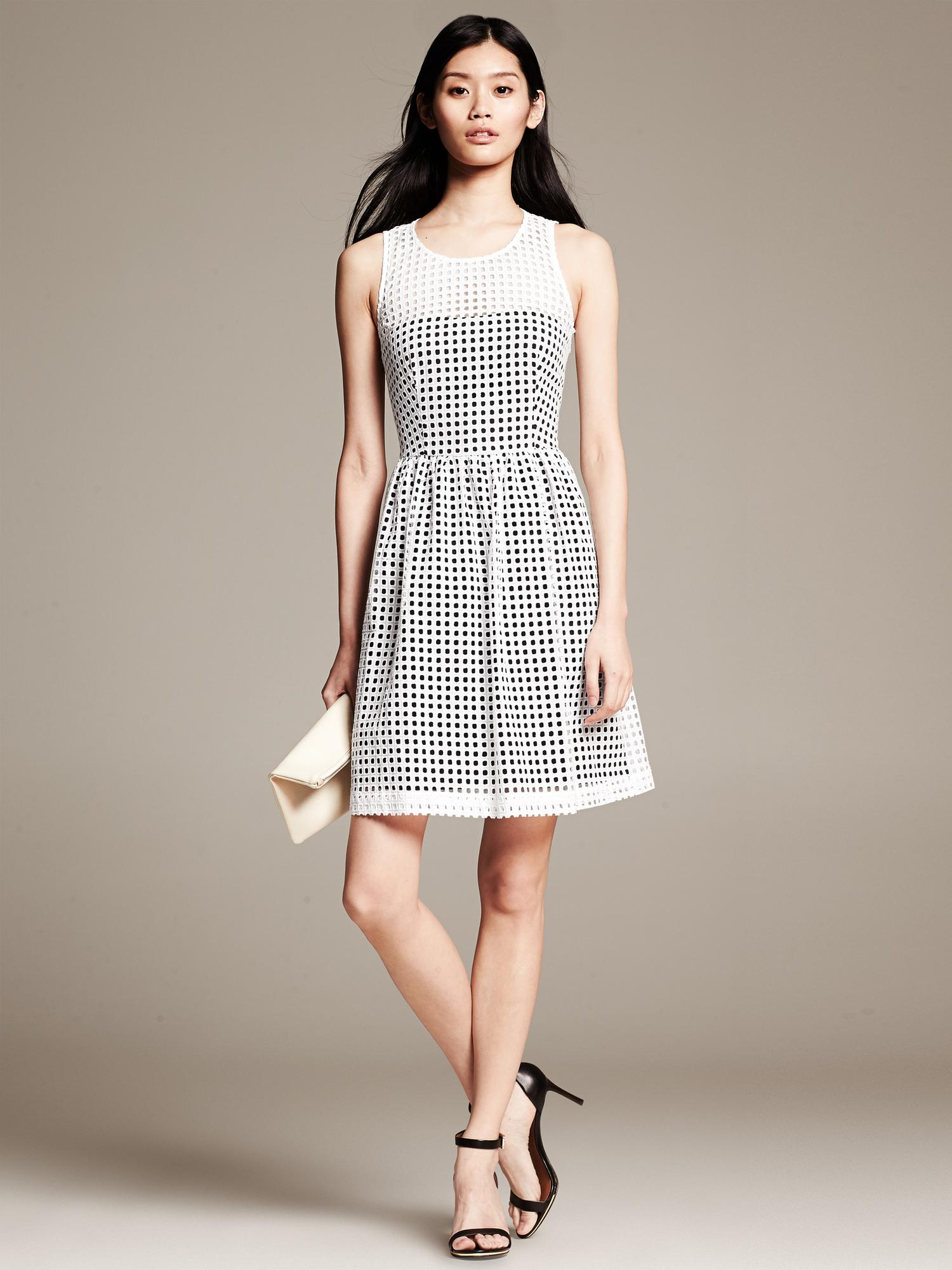 Banana Republic Eyelet Fit And Flare Dress In Black White