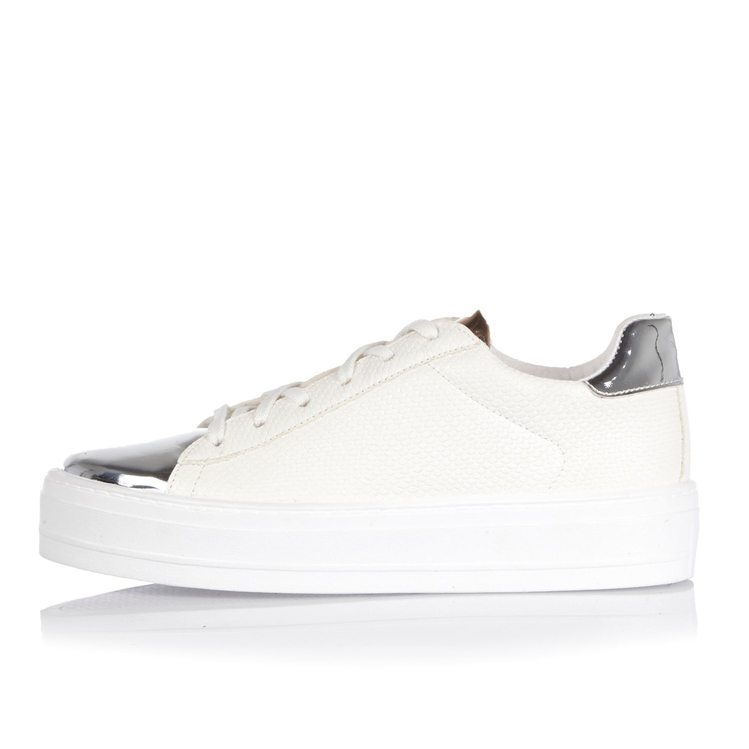 9024f8b3e07 River Island White Metallic Trim Platform Trainers in White - Lyst