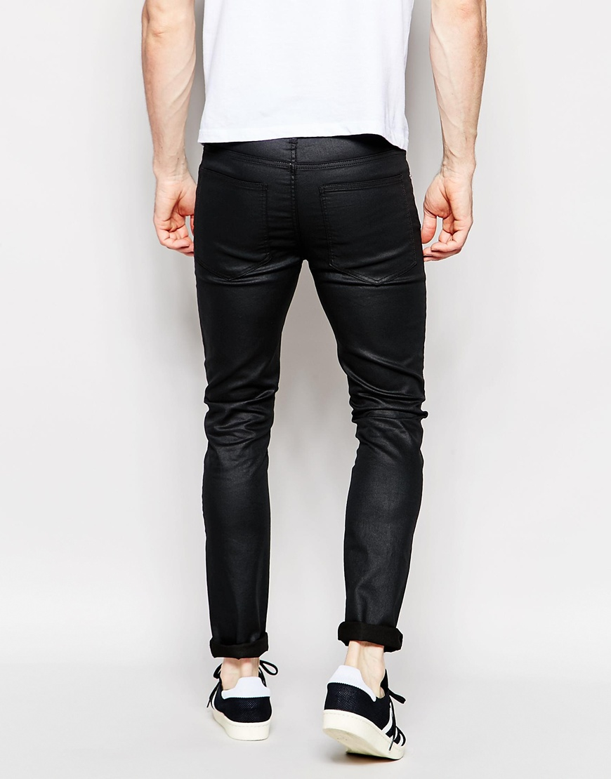 cheap monday jeans tight stretch skinny fit coated black. Black Bedroom Furniture Sets. Home Design Ideas