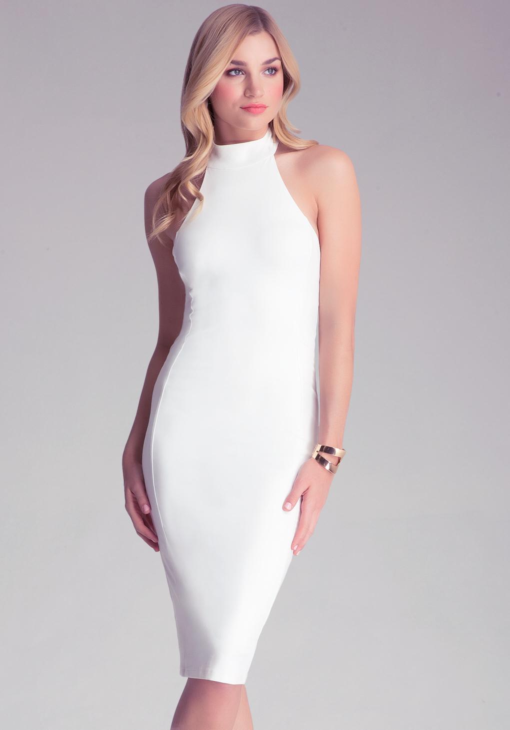 bb37301427 Bebe Mock Neck Midi Dress in White - Lyst