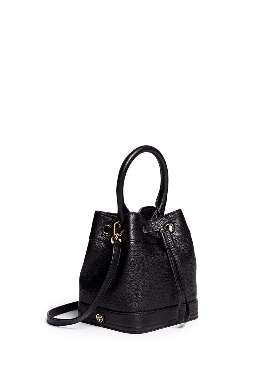 87626d452e Tory Burch 'robinson' Leather Bucket Bag in Black - Lyst