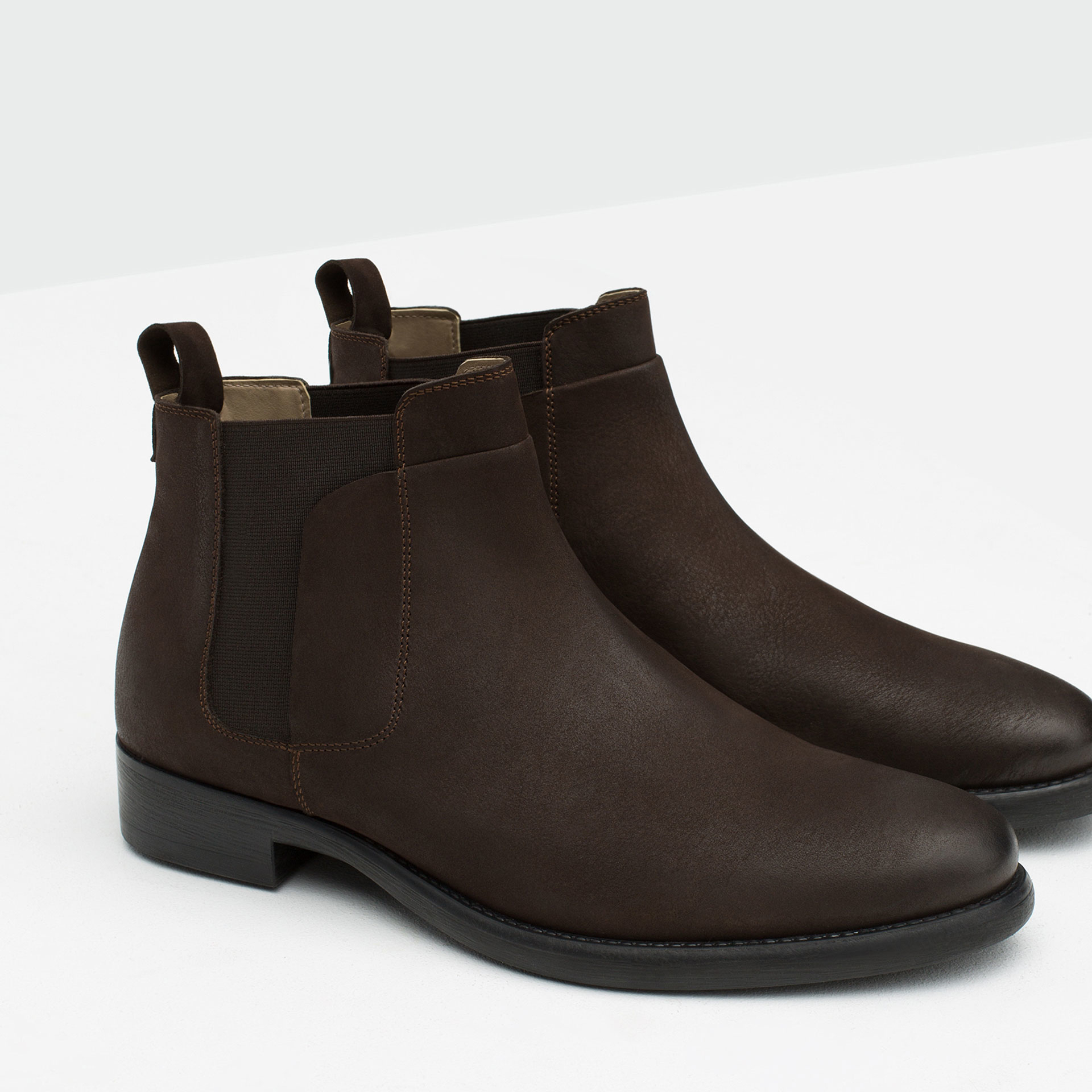 Zara Leather Chelsea Boots in Brown for Men | Lyst